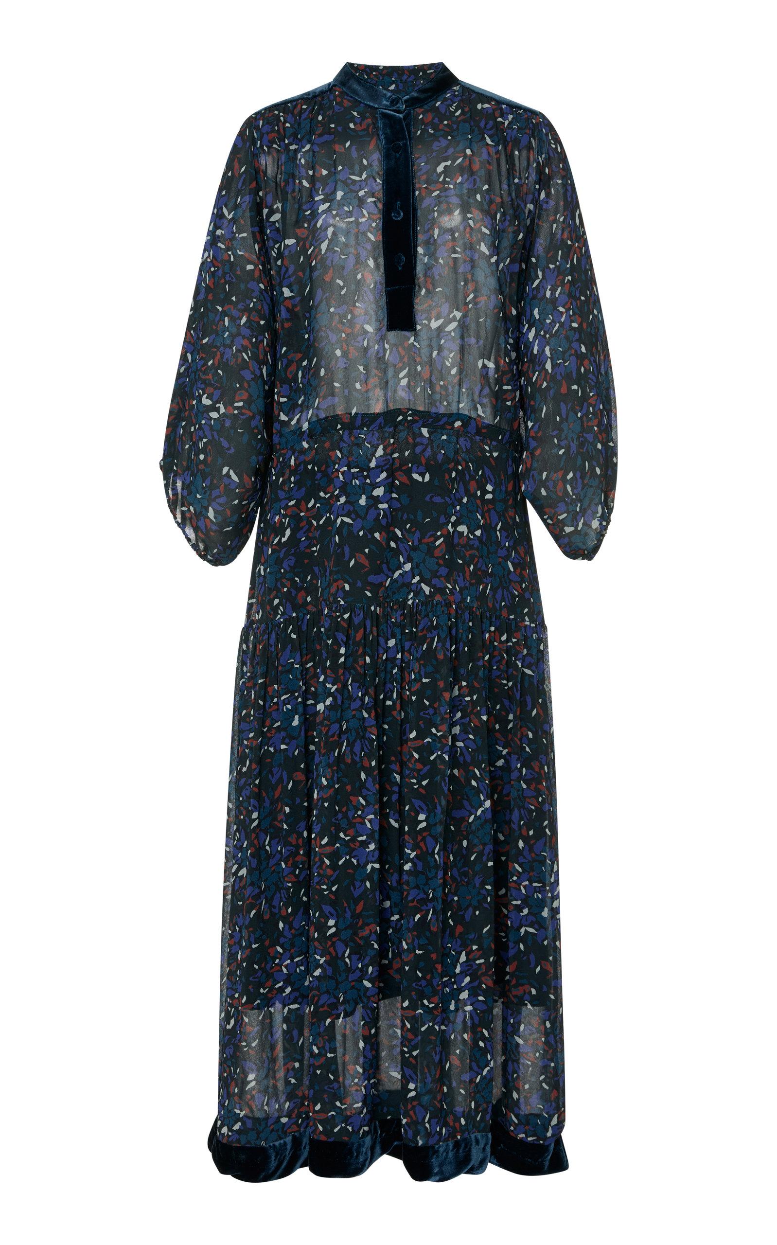 WARM PRIMROSE VELVET-TRIMMED PRINTED CHIFFON MAXI DRESS