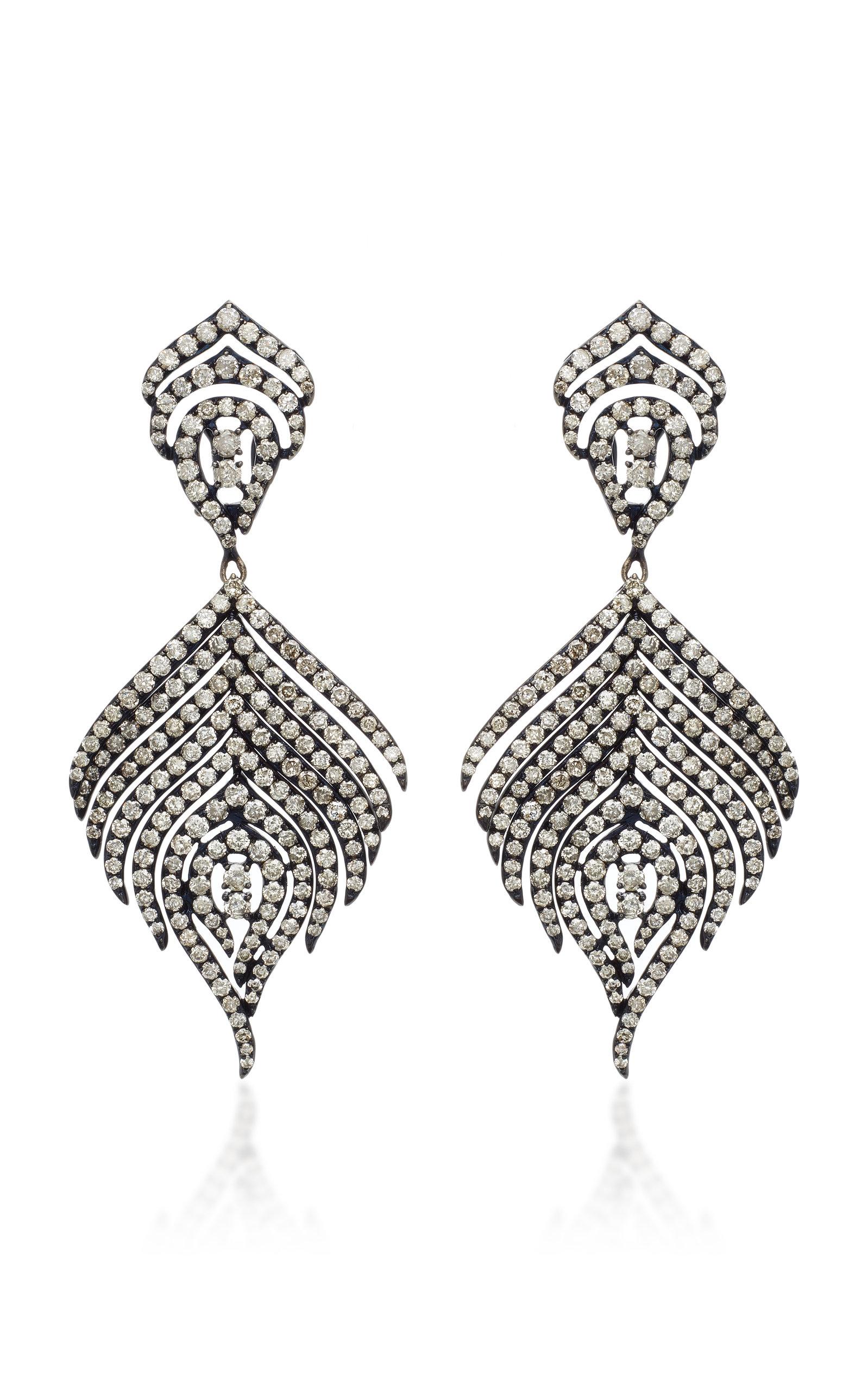 SUTRA 18K Black Rhodium And Diamond Earrings