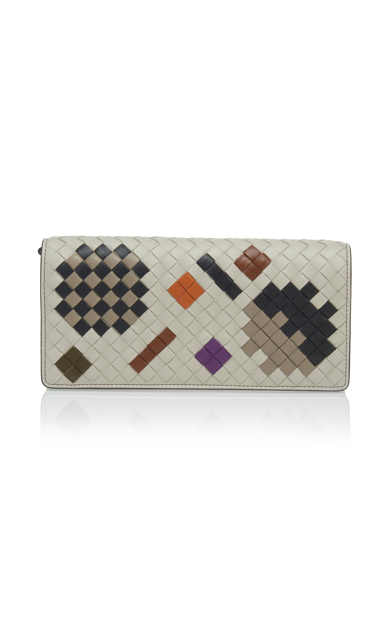 Chain Strap Artsy Leather Wallet in White