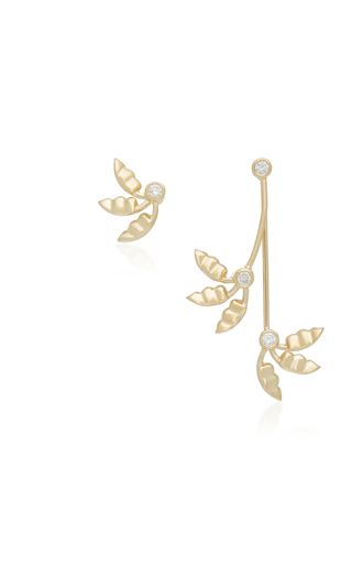 ILANA ARIEL | Ilana Ariel Jasmine Fan 14K Gold Diamond Earrings | Goxip