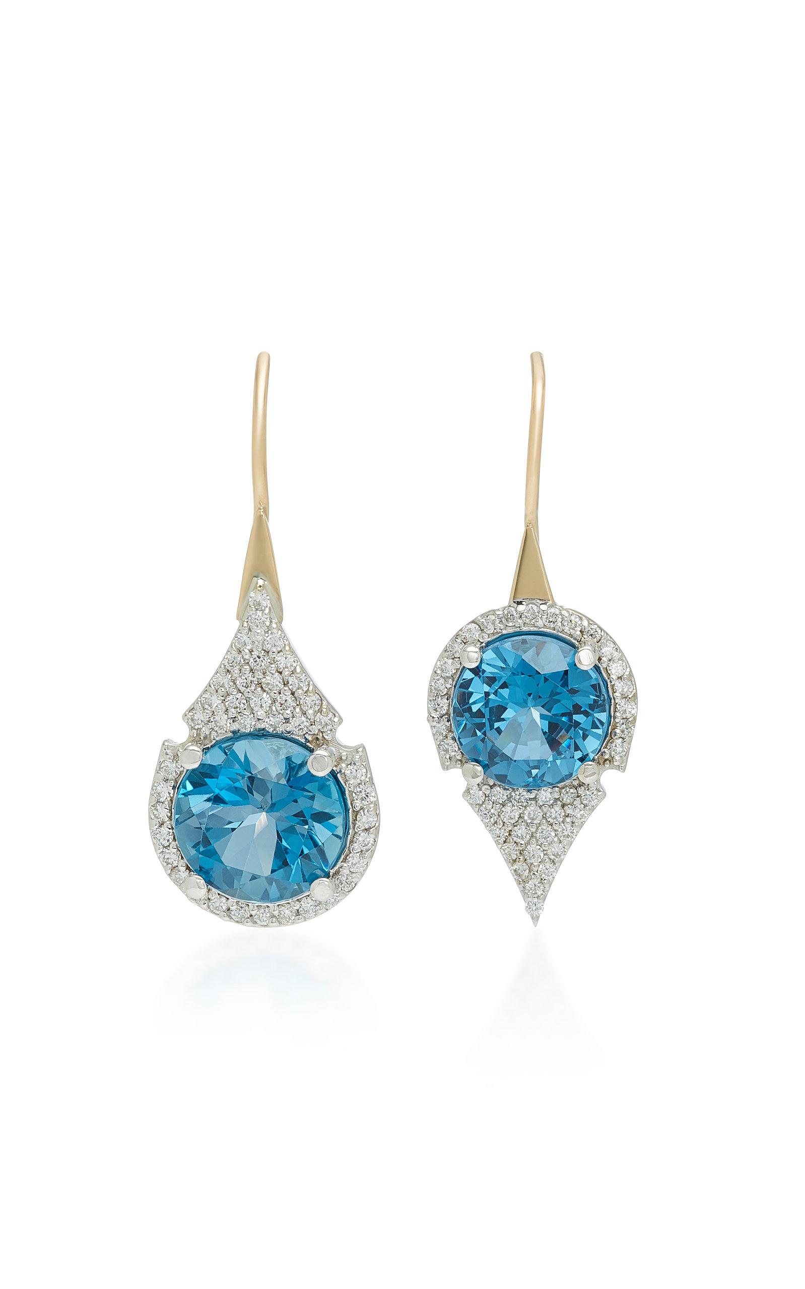 ILANA ARIEL Aziza 14K Gold Blue Topaz Diamond Earrings