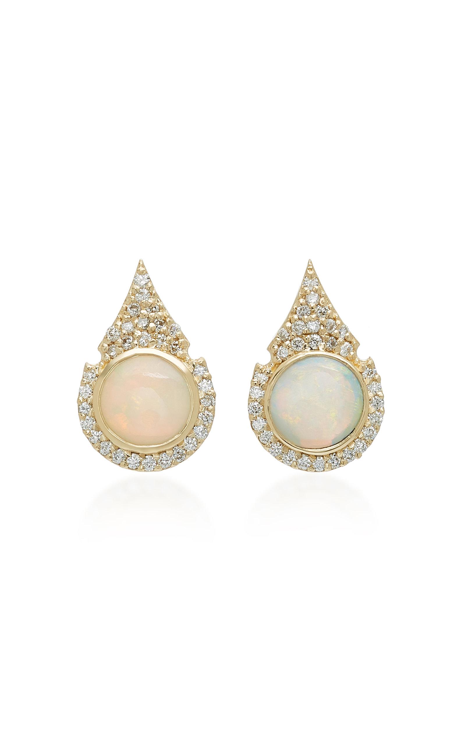 ILANA ARIEL Aziza 14K Gold Opal And Diamond Earrings in White