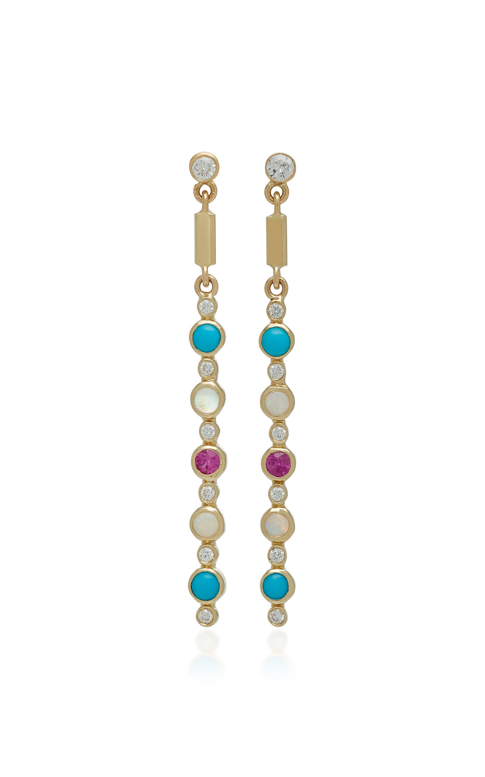 ILANA ARIEL Dot Matchstick 14K Gold Multi-Stone Earrings
