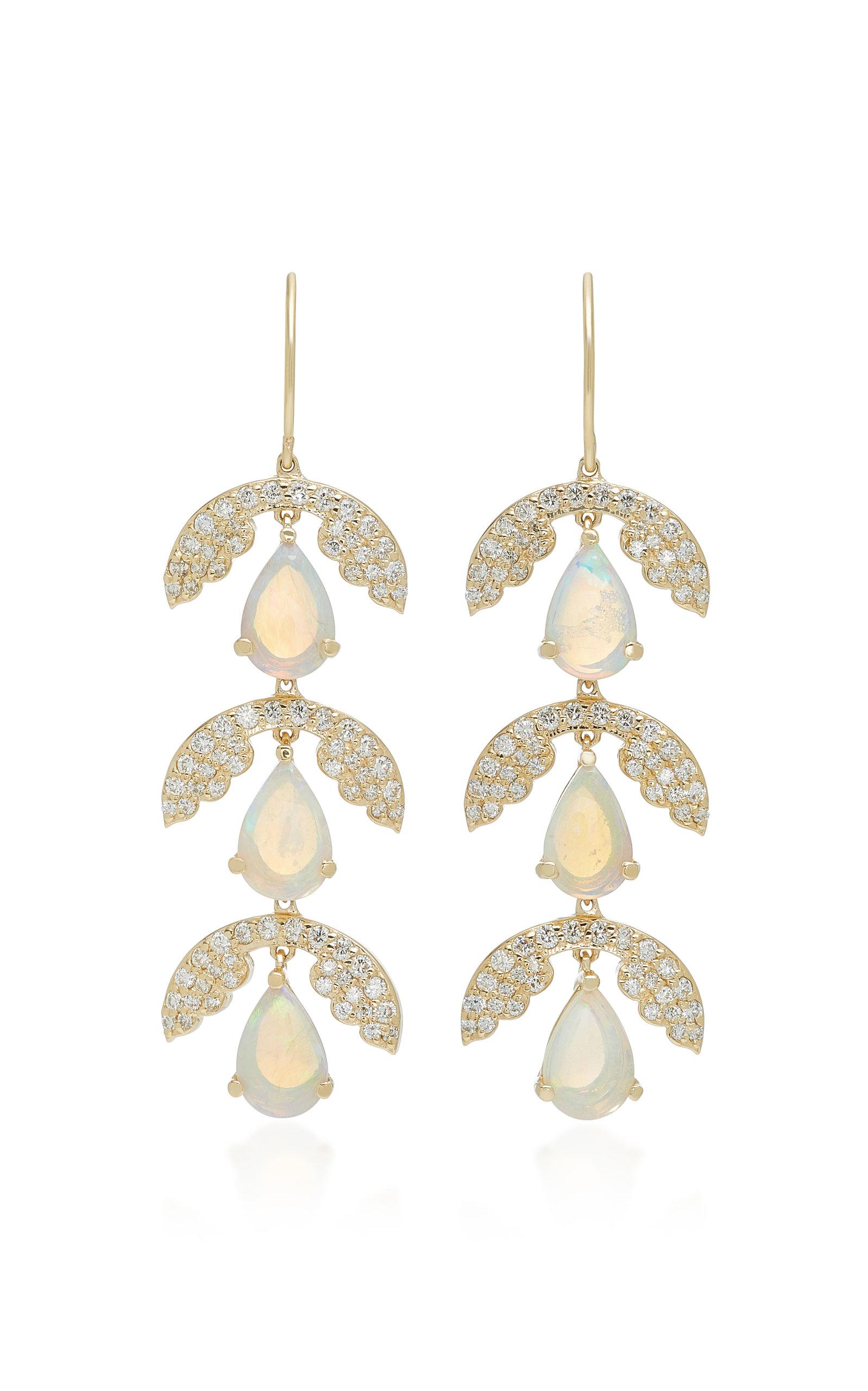 ILANA ARIEL Three Drop Jasmine 14K Gold Opal And Diamond Earrings in Green