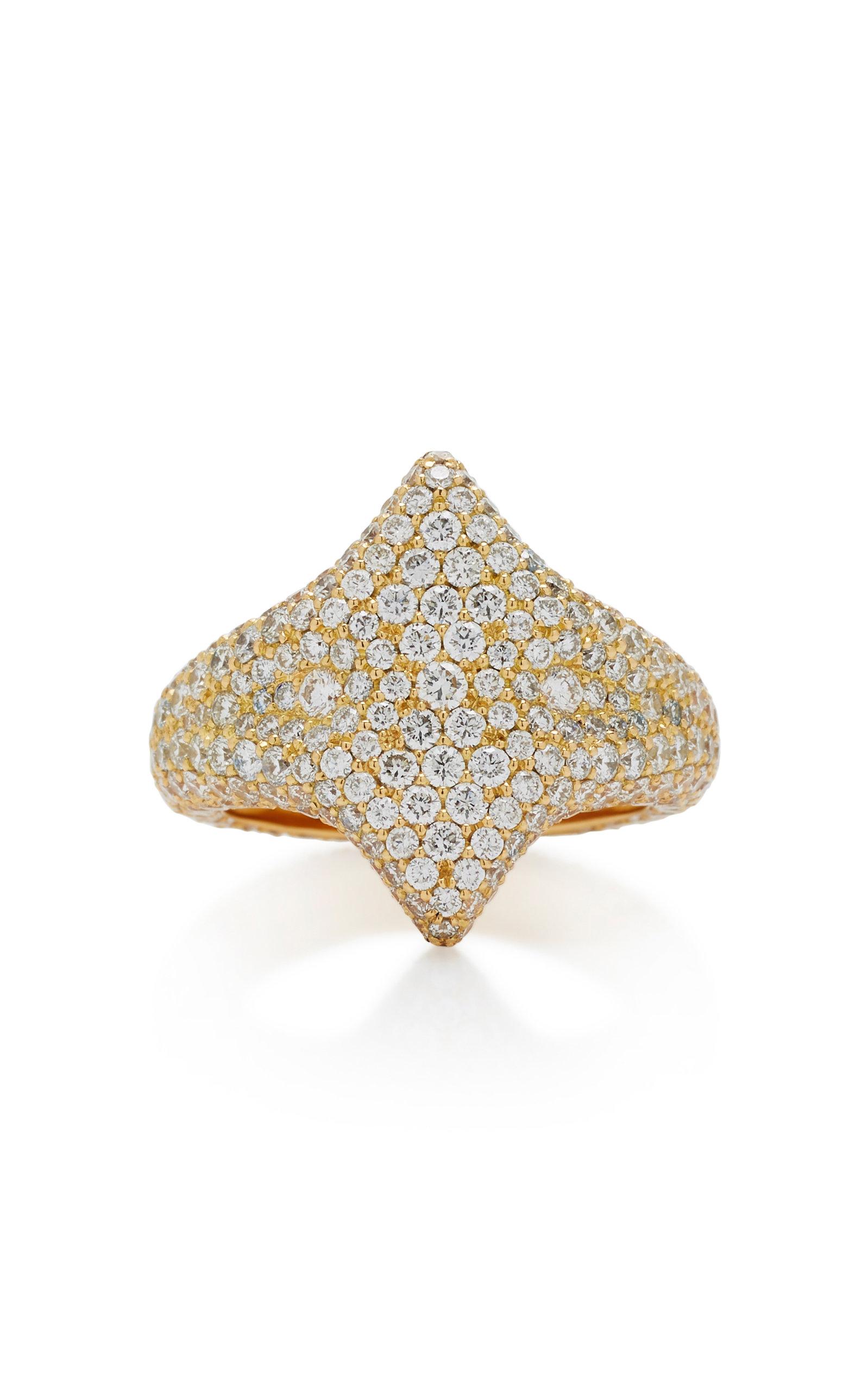 ILANA ARIEL Adina 18K Gold Diamond Signet Ring in White