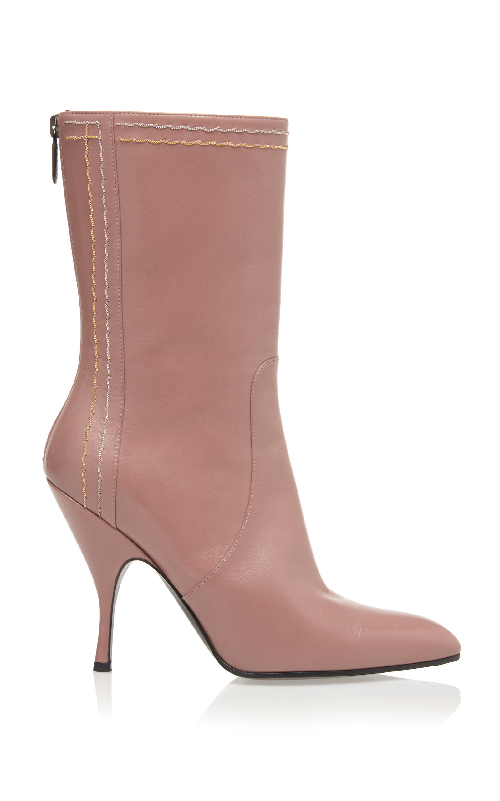 Chain-Embellished Leather Boots in Light Pink