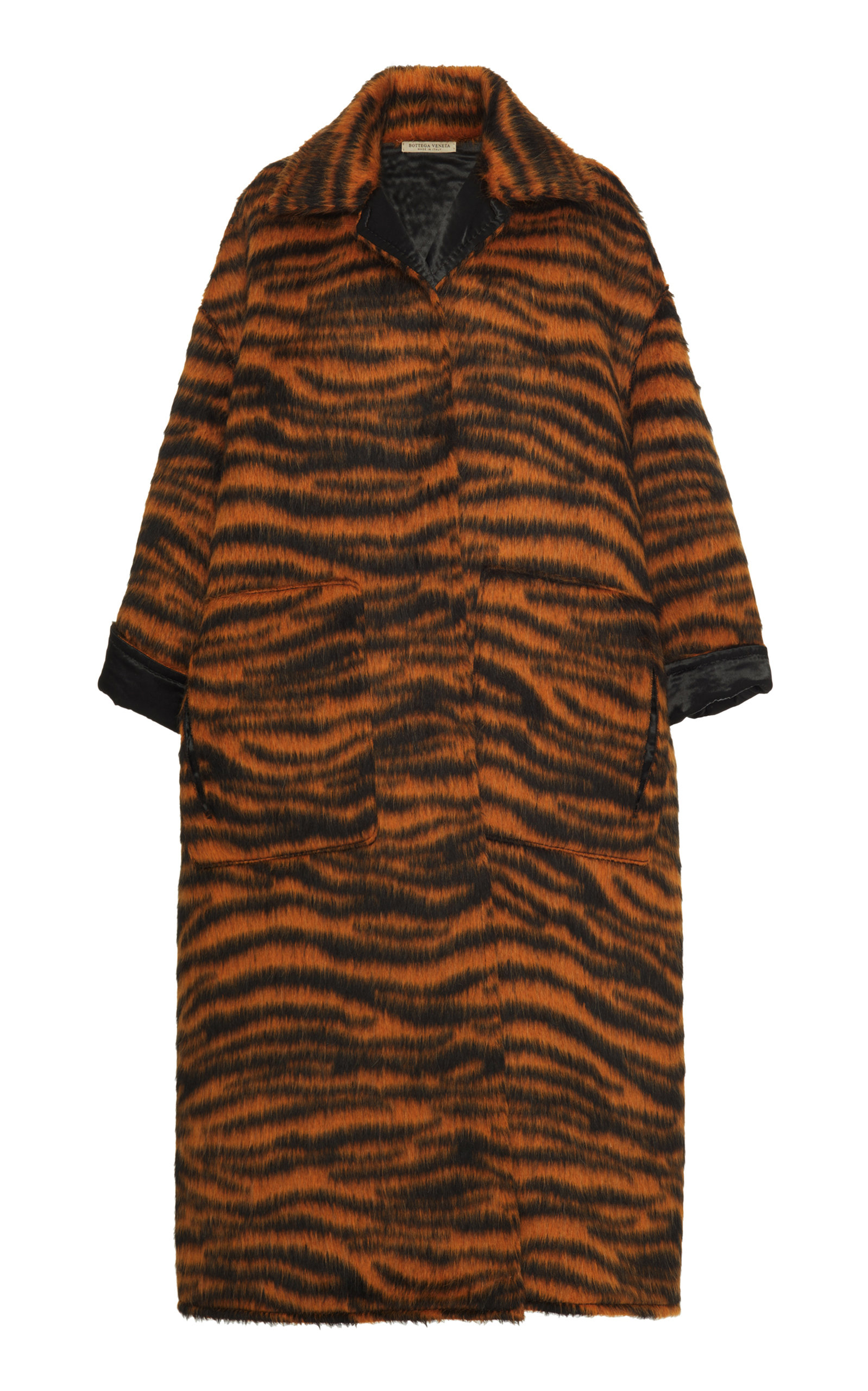 Oversized Tiger-Print Llama-Blend Coat, Animal