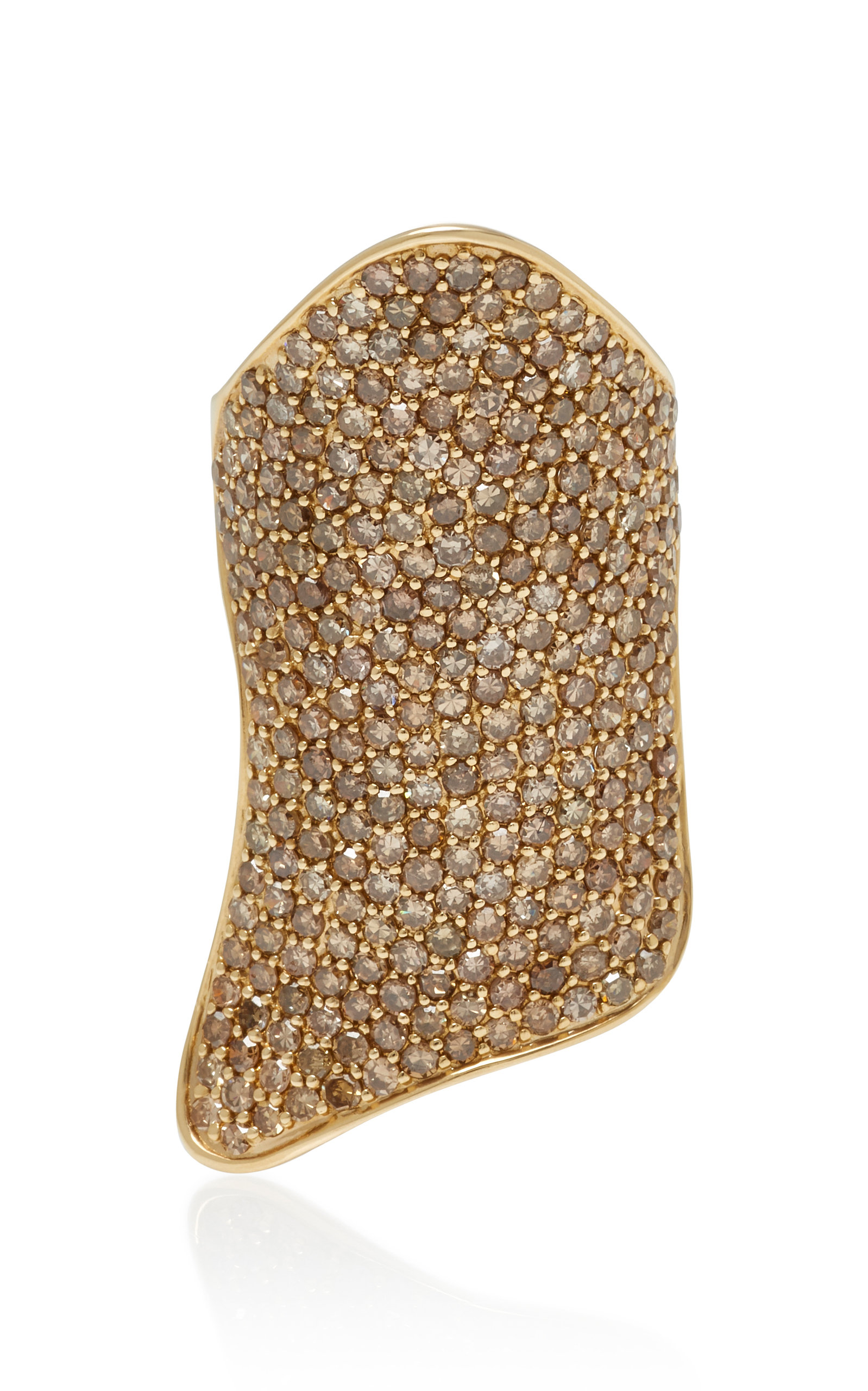 LYNN BAN JEWELRY PAVE ARMOR 14K GOLD DIAMOND RING