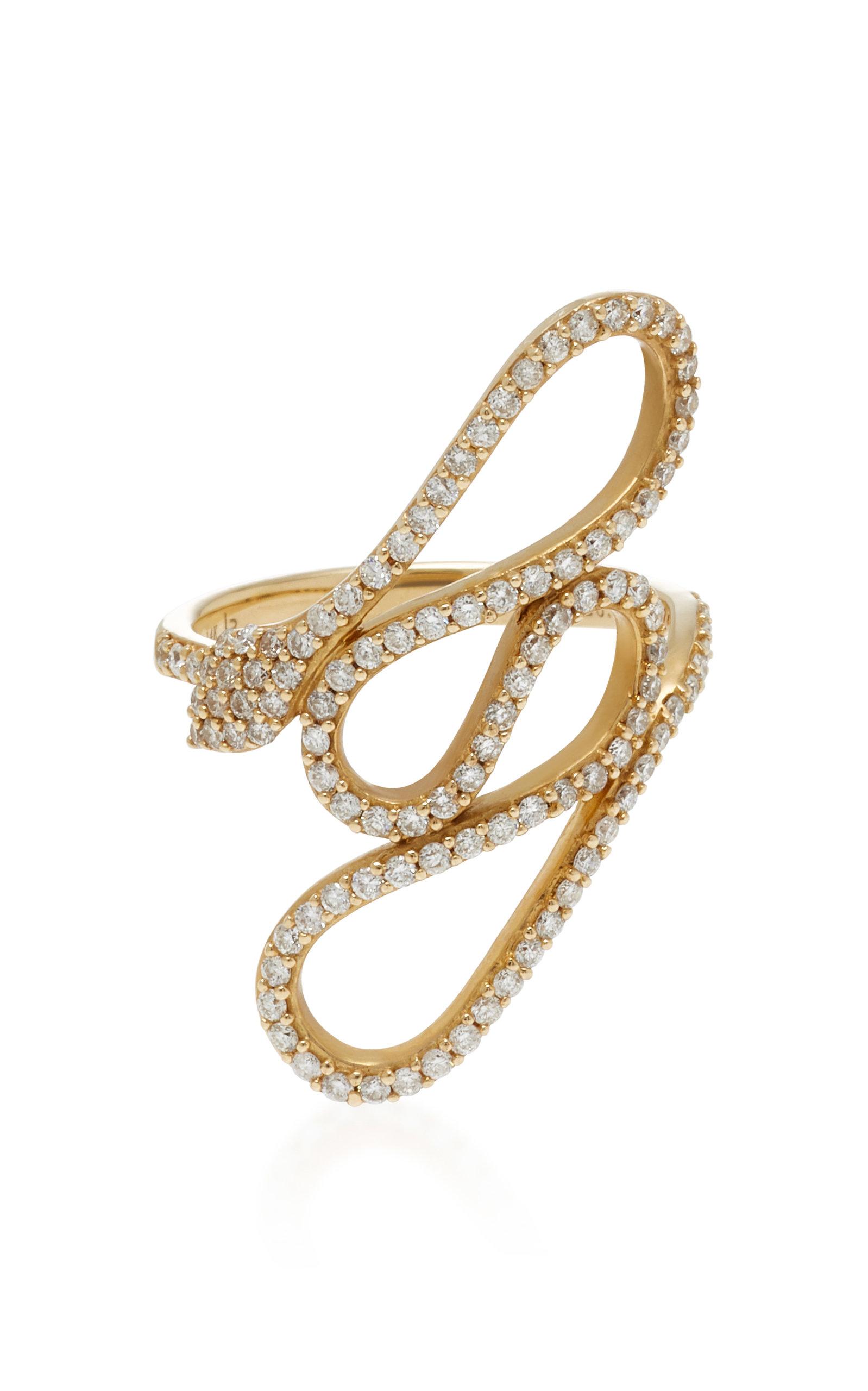 LYNN BAN JEWELRY SERPENT COIL 14K GOLD DIAMOND RING