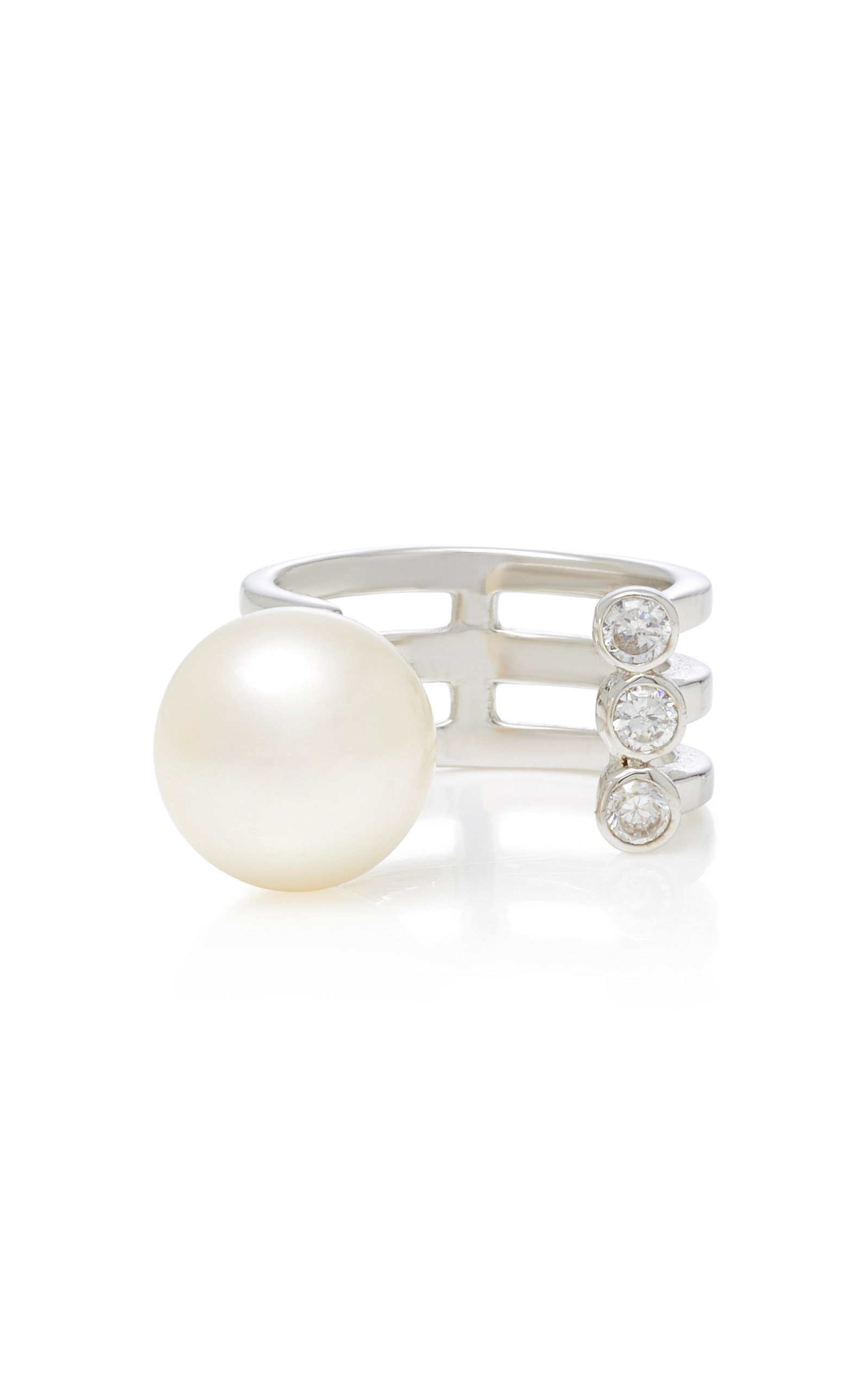 LYNN BAN JEWELRY STERLING SILVER DIAMOND AND PEARL RING