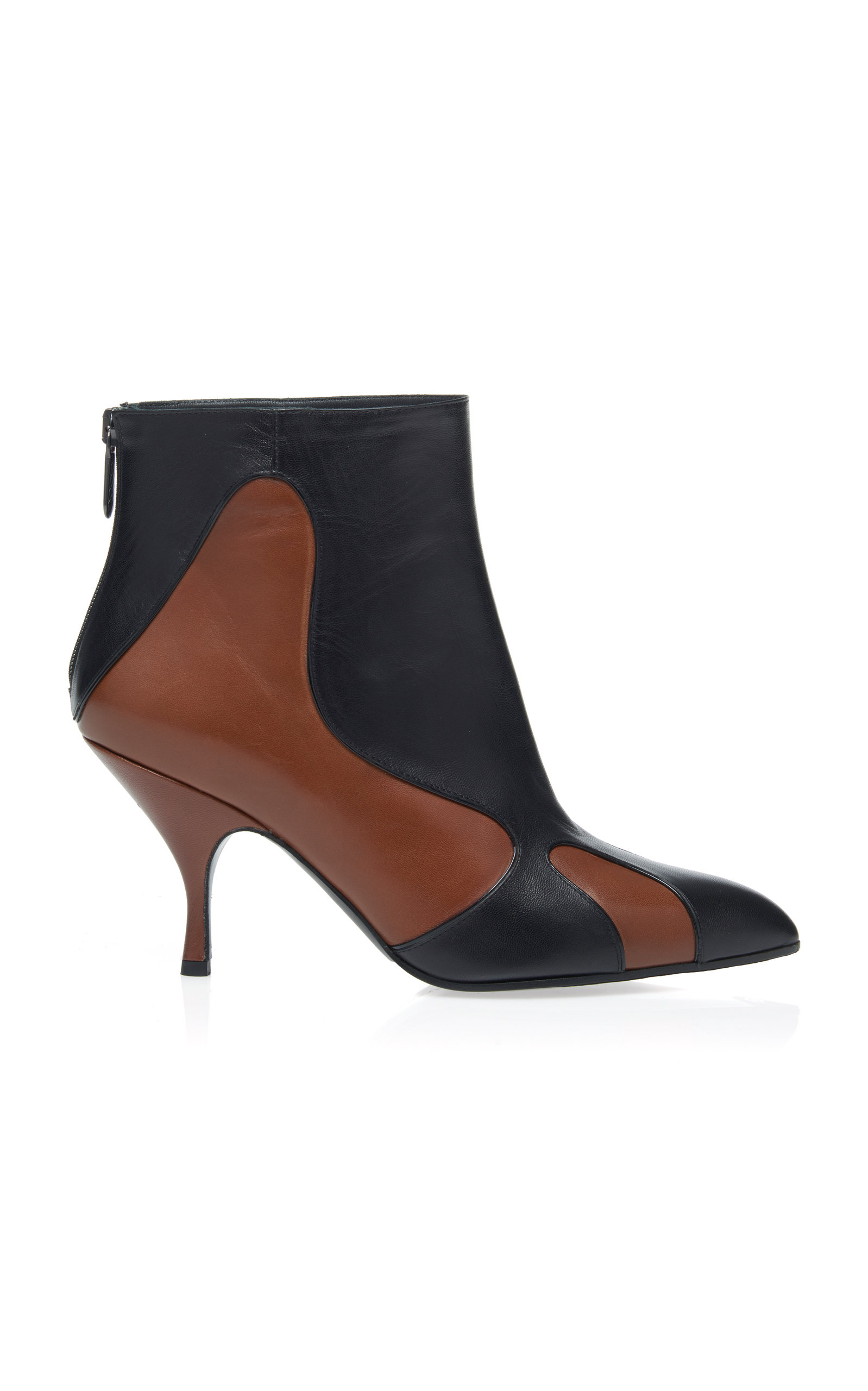 FLAME PANELED-LEATHER ANKLE BOOTS