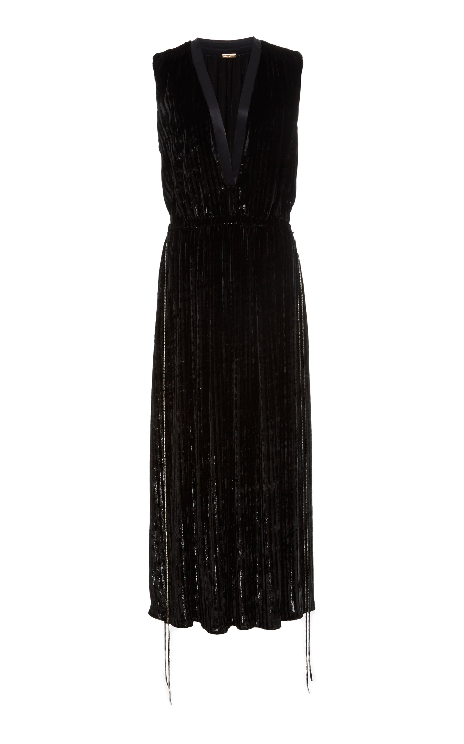 ADAM LIPPES Sleeveless Striped A-Line Cocktail Dress, Black