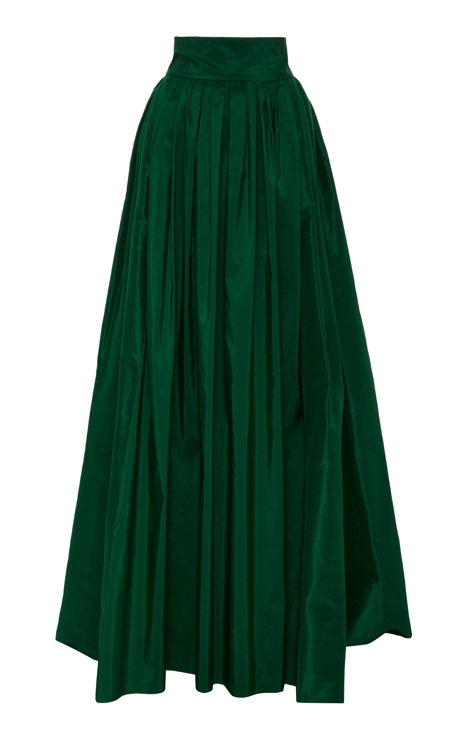 Carolina Herrera High Rise Silk Taffeta Ball Gown Skirt In Emerald