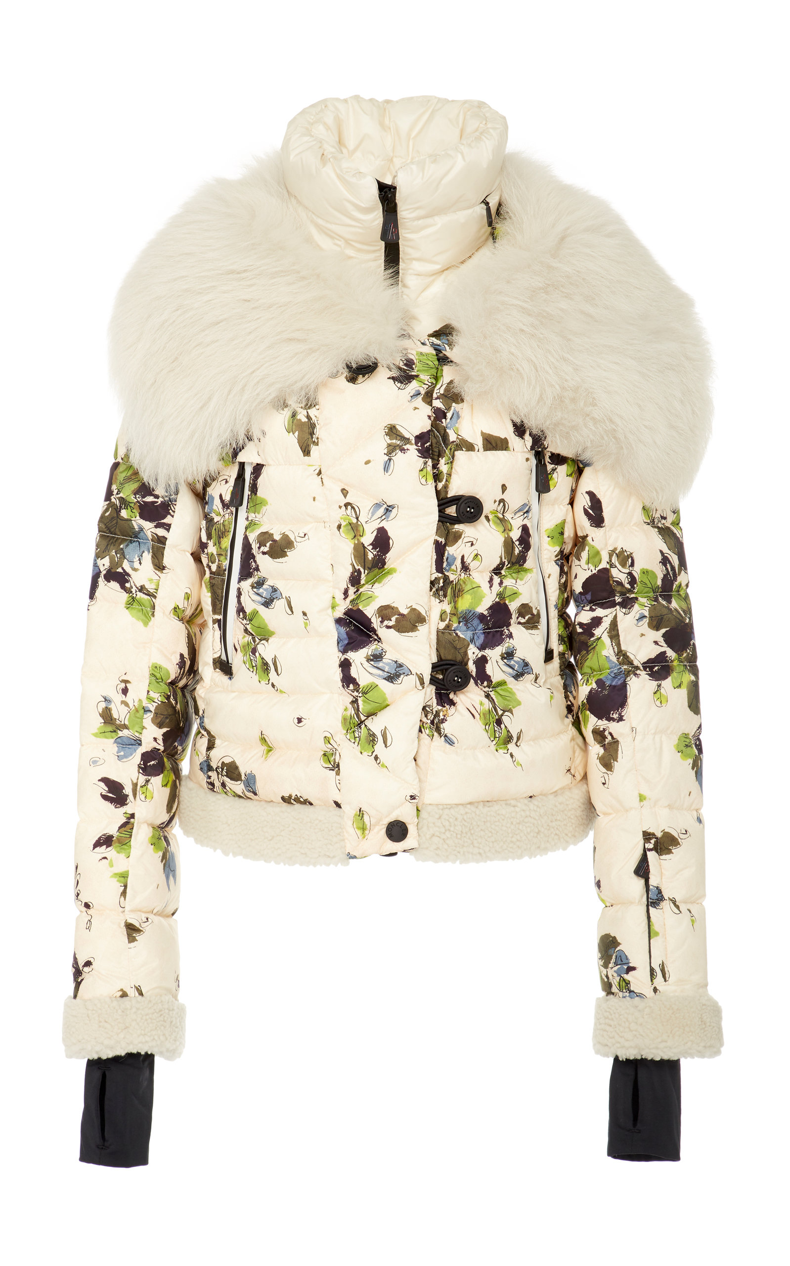 67b2d034d Shearling-Trimmed Floral-Print Quilted Shell Down Jacket by Moncler ...