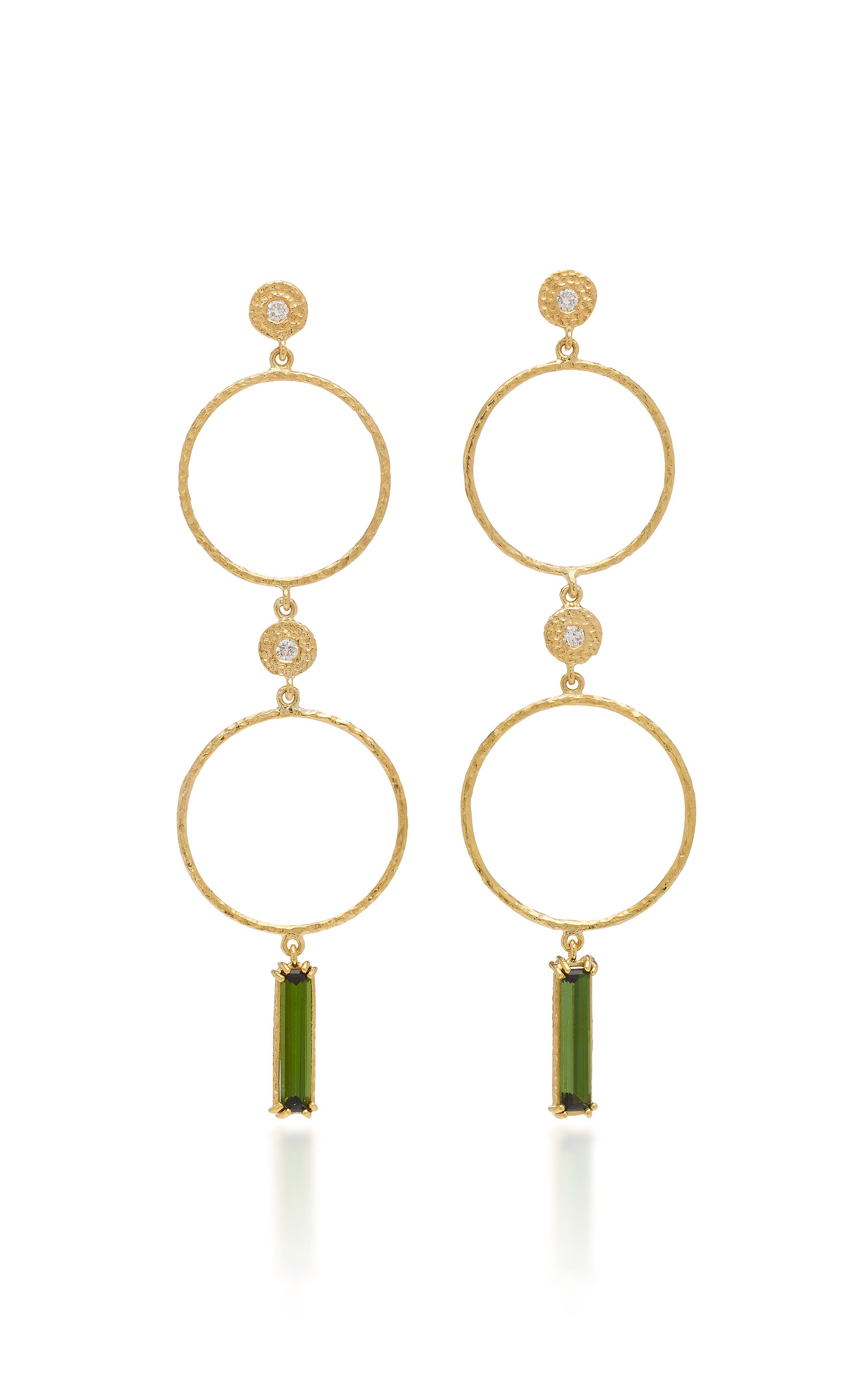 OCTAVIA ELIZABETH NESTING GEM TOURMALINE AND 18K GOLD DROP EARRINGS