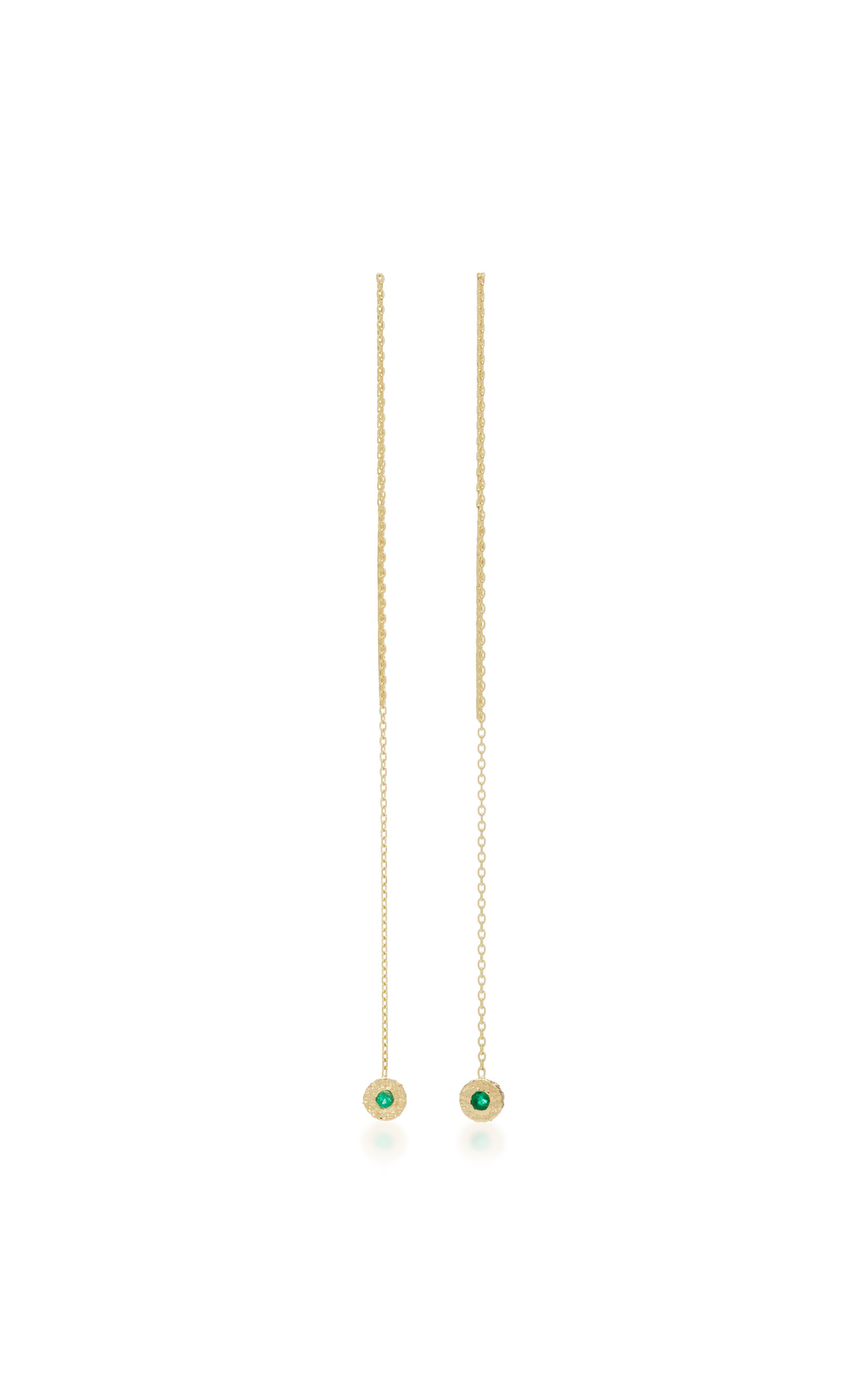 OCTAVIA ELIZABETH 18K GOLD EMERALD EARRINGS
