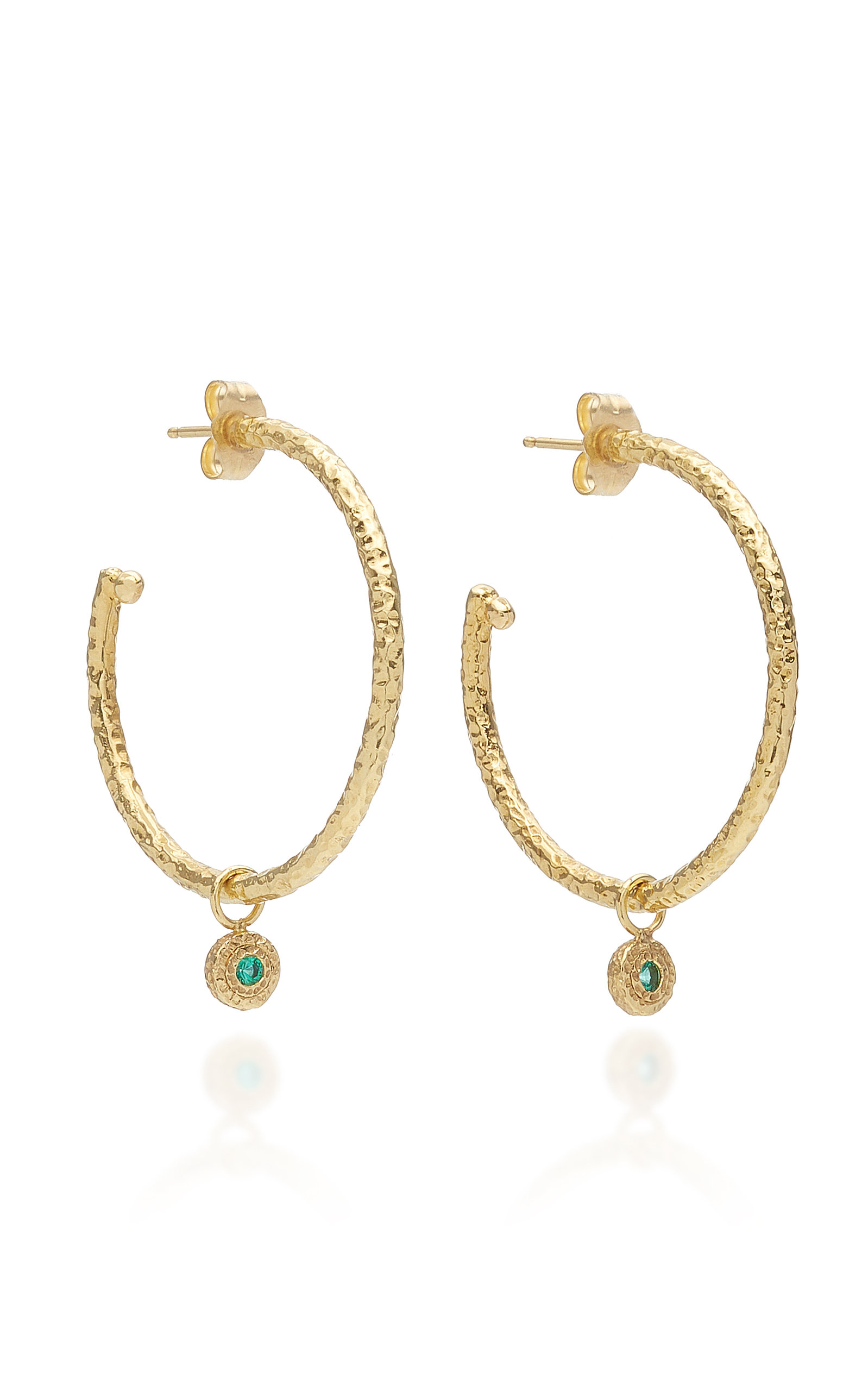 OCTAVIA ELIZABETH NESTING GEM EMERALD AND 18K GOLD HOOP EARRINGS