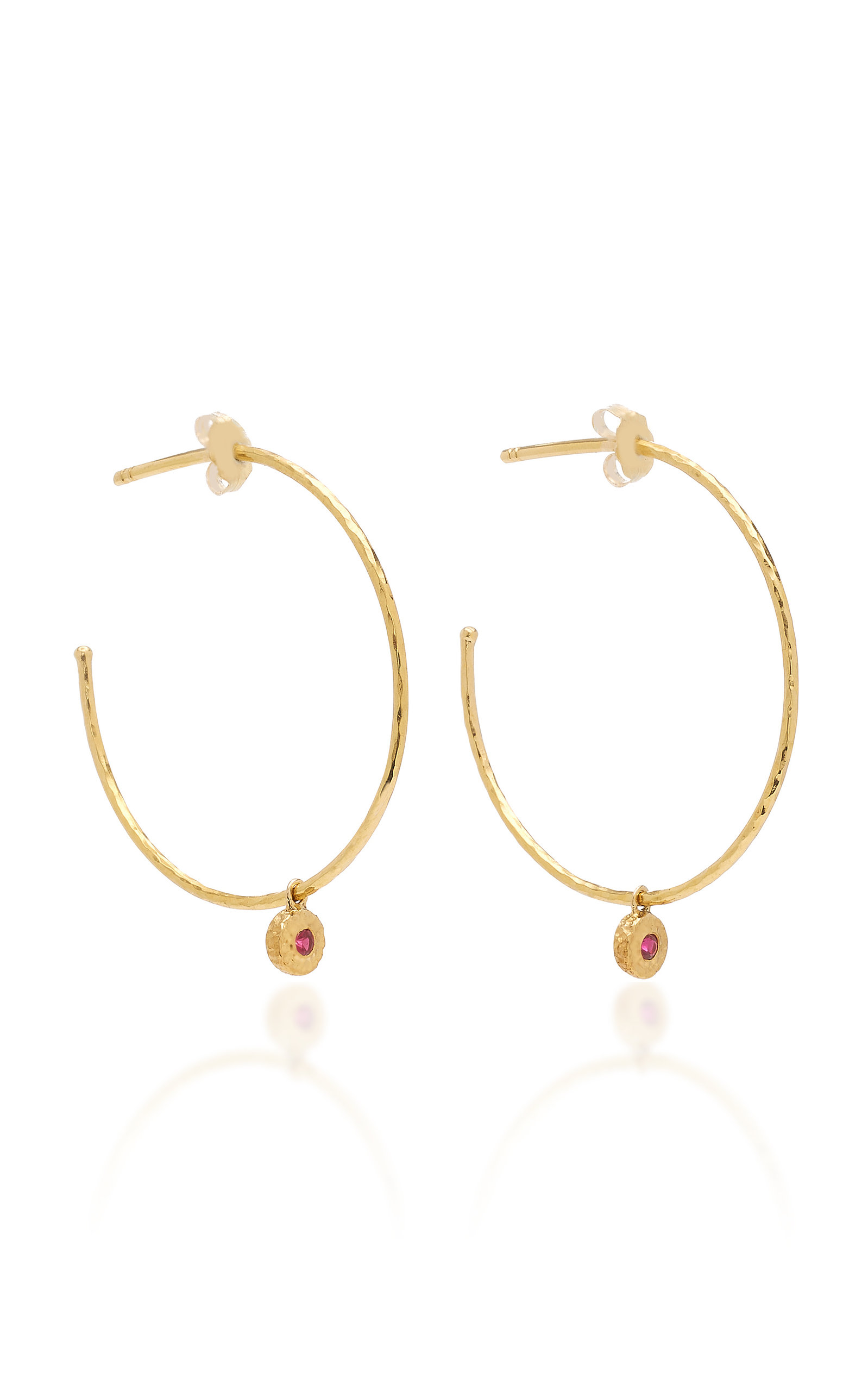 OCTAVIA ELIZABETH NESTING GEM RUBY AND 18K GOLD HOOP EARRINGS