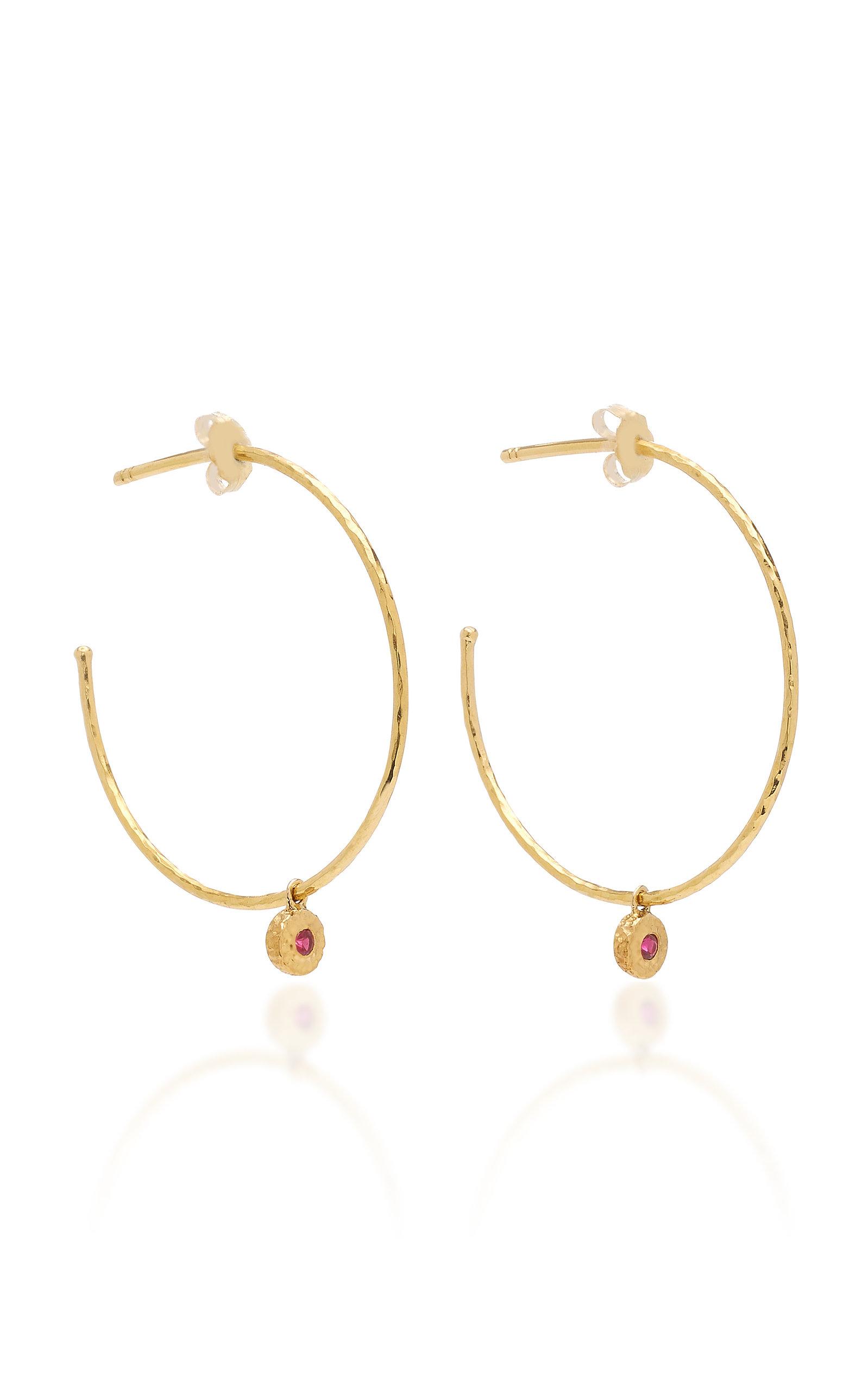 06212728a Nesting Gem Ruby and 18K Gold Hoop Earrings by Octavia Elizabeth ...