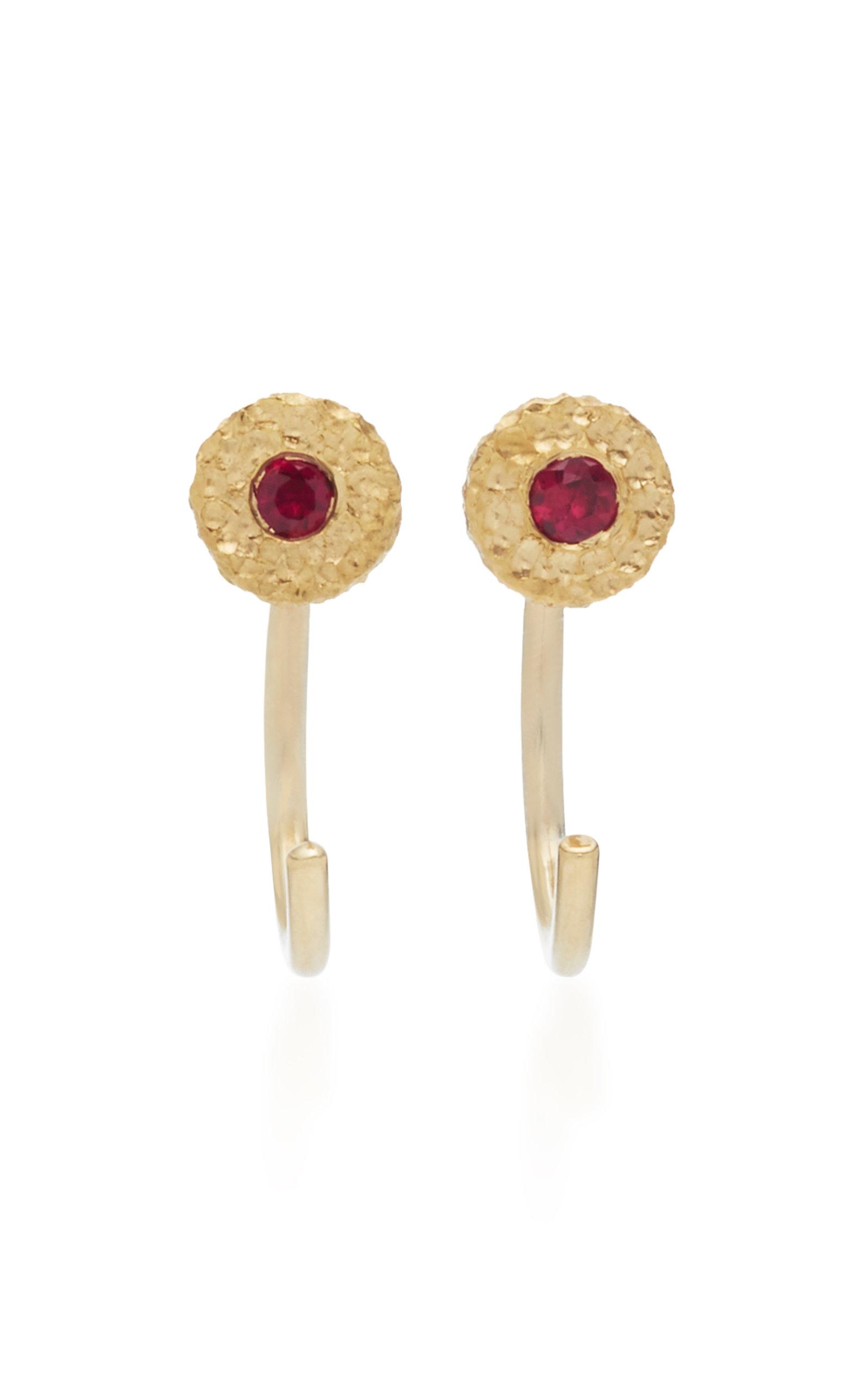 OCTAVIA ELIZABETH Ruby Nesting Gem 18K Gold Ruby Earrings in Red