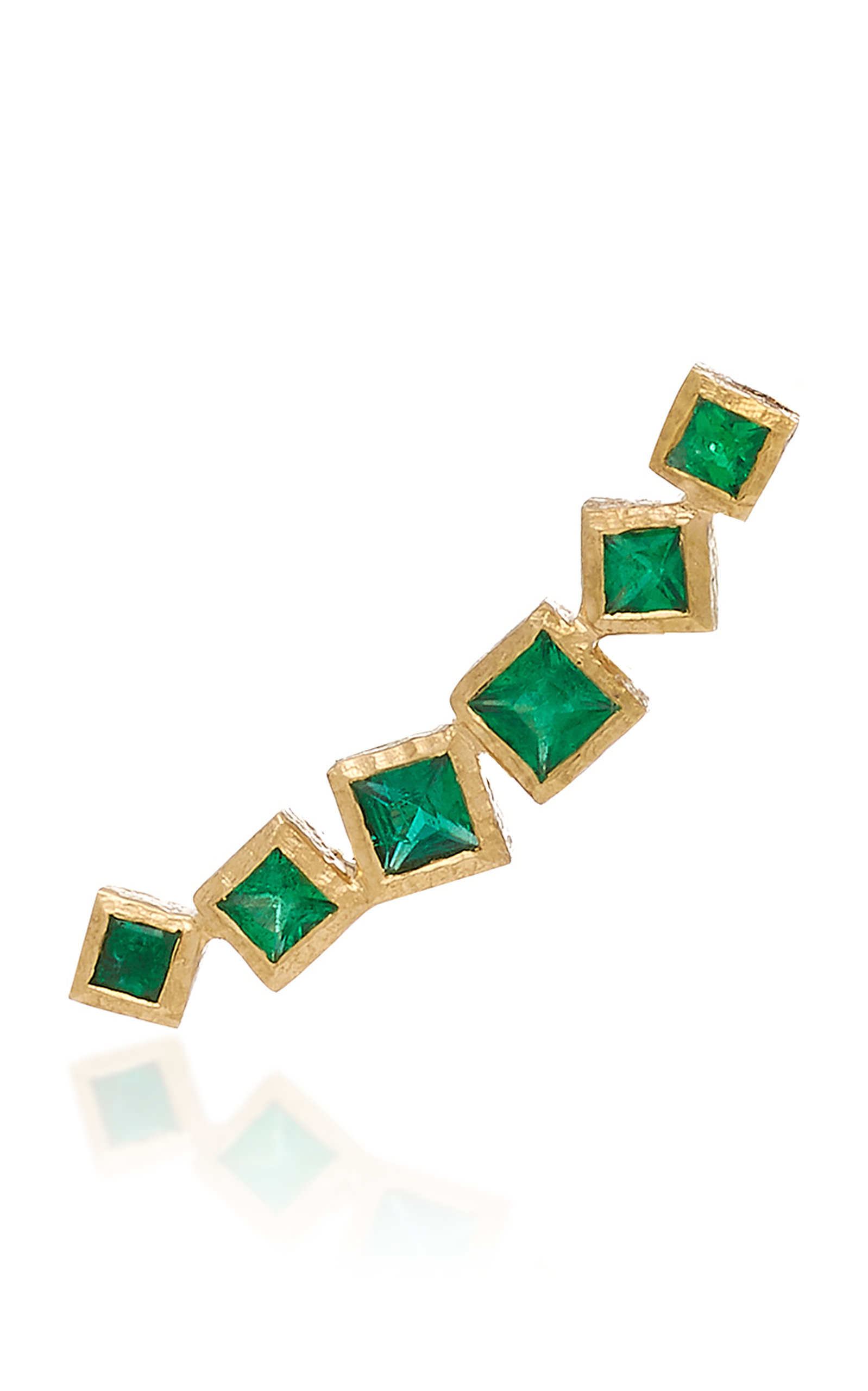 OCTAVIA ELIZABETH IVY GOLD AND EMERALD EAR CLIMBER