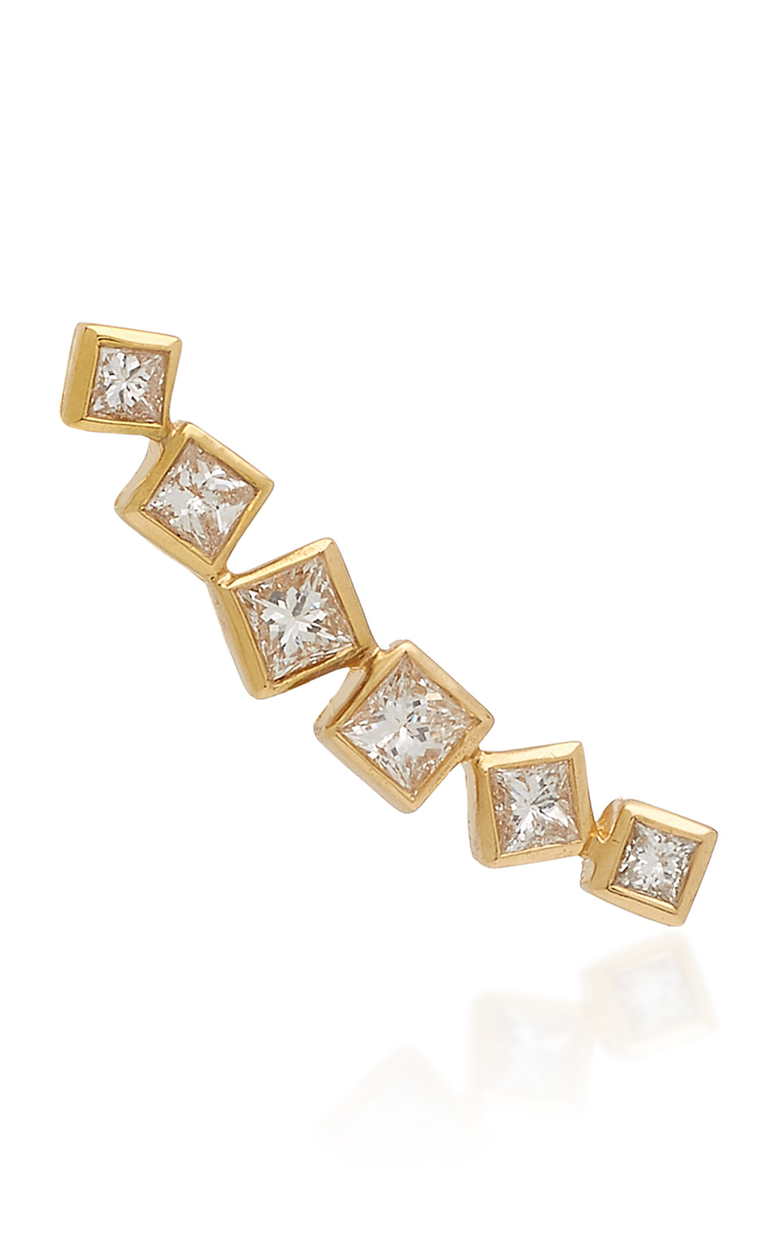 OCTAVIA ELIZABETH IVY GOLD AND DIAMOND EAR CLIMBER