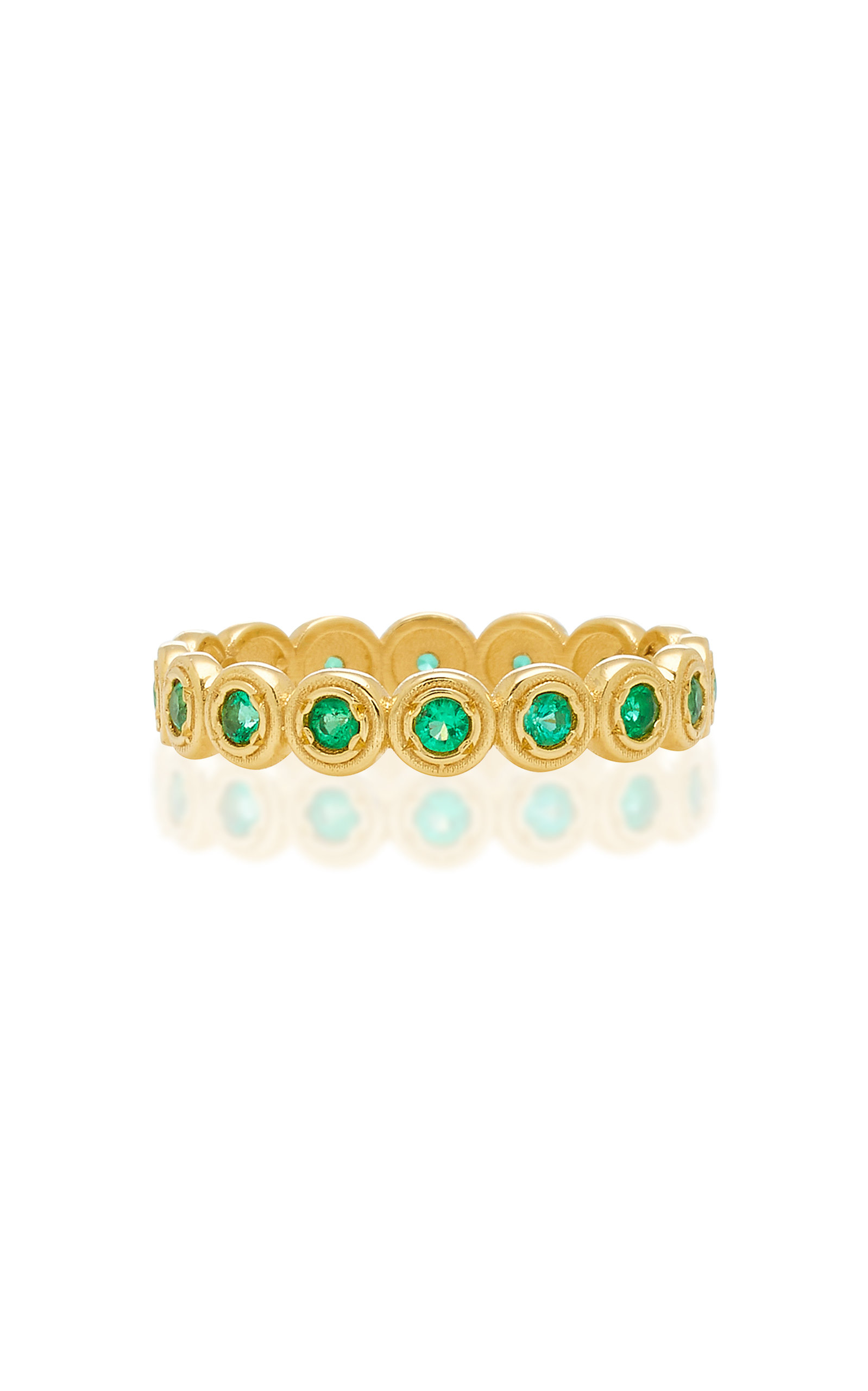OCTAVIA ELIZABETH NESTING GEM EMERALD AND 18K GOLD ETERNITY RING