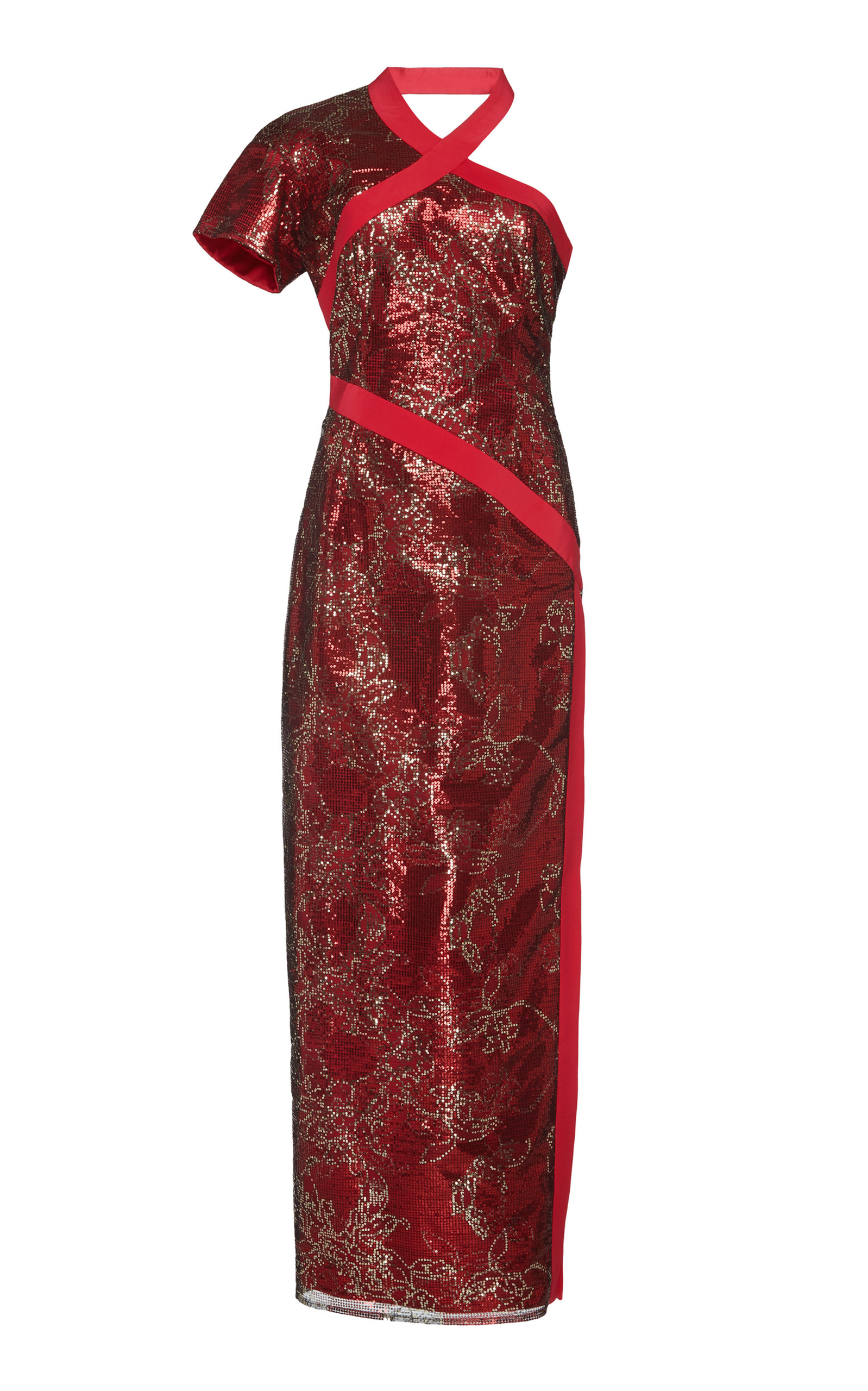 ELEANOR BALFOUR Exclusive Constance One-Shoulder Sequined Gown in Red