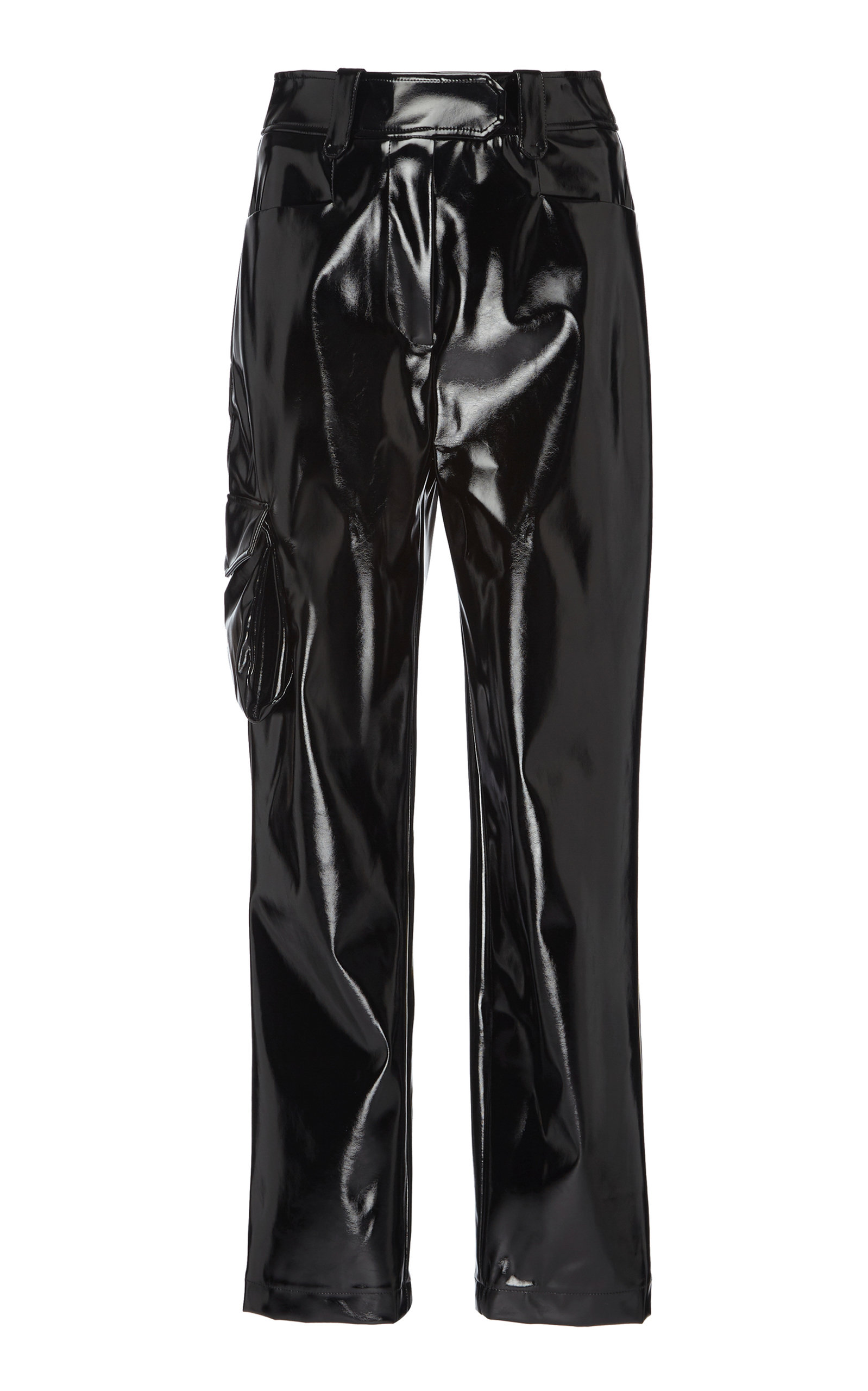 ELEANOR BALFOUR Exclusive Stephanie Cropped Straight-Leg Vinyl Pant in Black