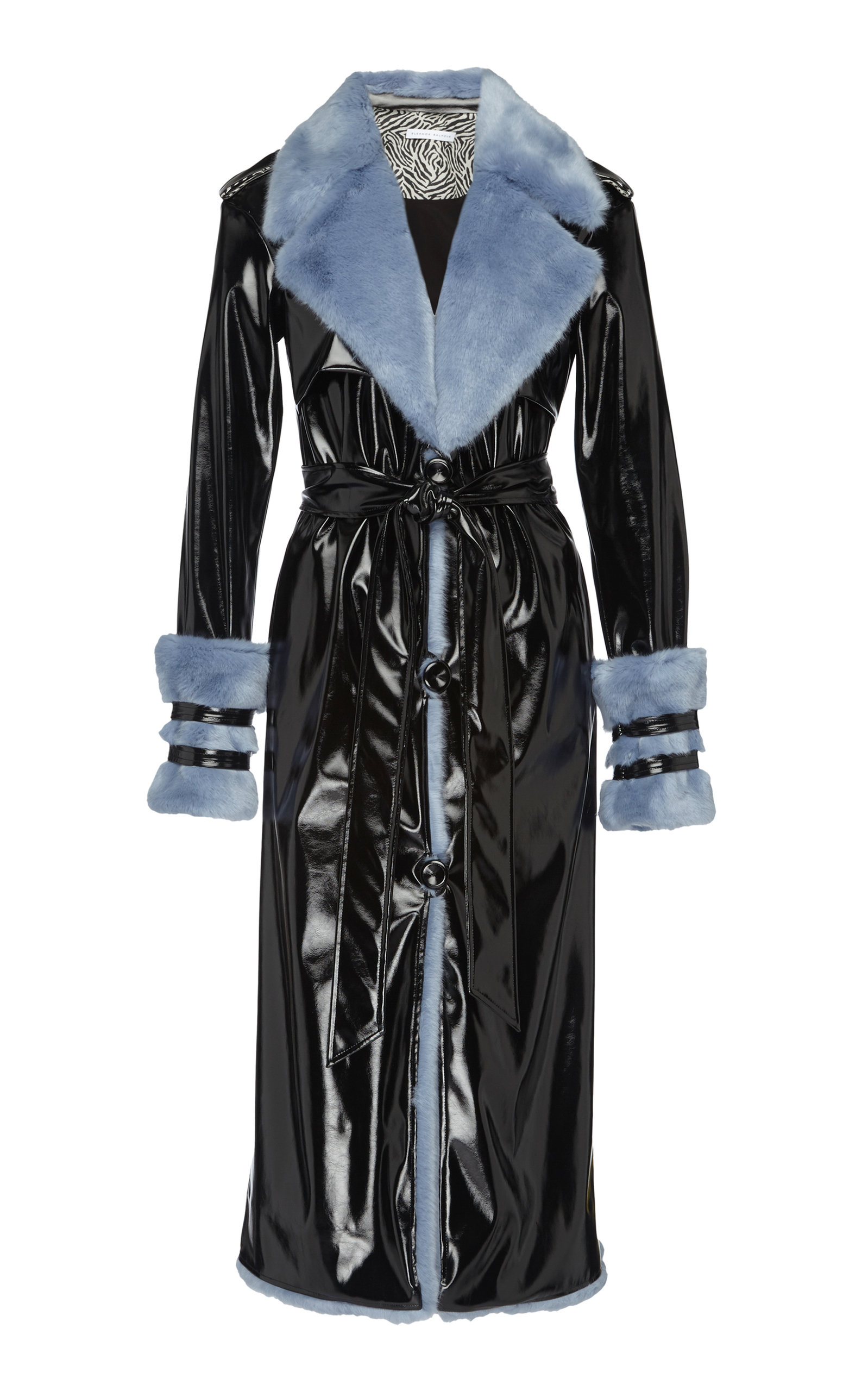 ELEANOR BALFOUR Exclusive Serena Faux Fur-Trimmed And Vinyl Trench Coat in Black