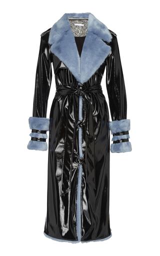 ELEANOR BALFOUR | Eleanor Balfour Exclusive Serena Faux Fur-Trimmed and Vinyl Trench Coat | Goxip