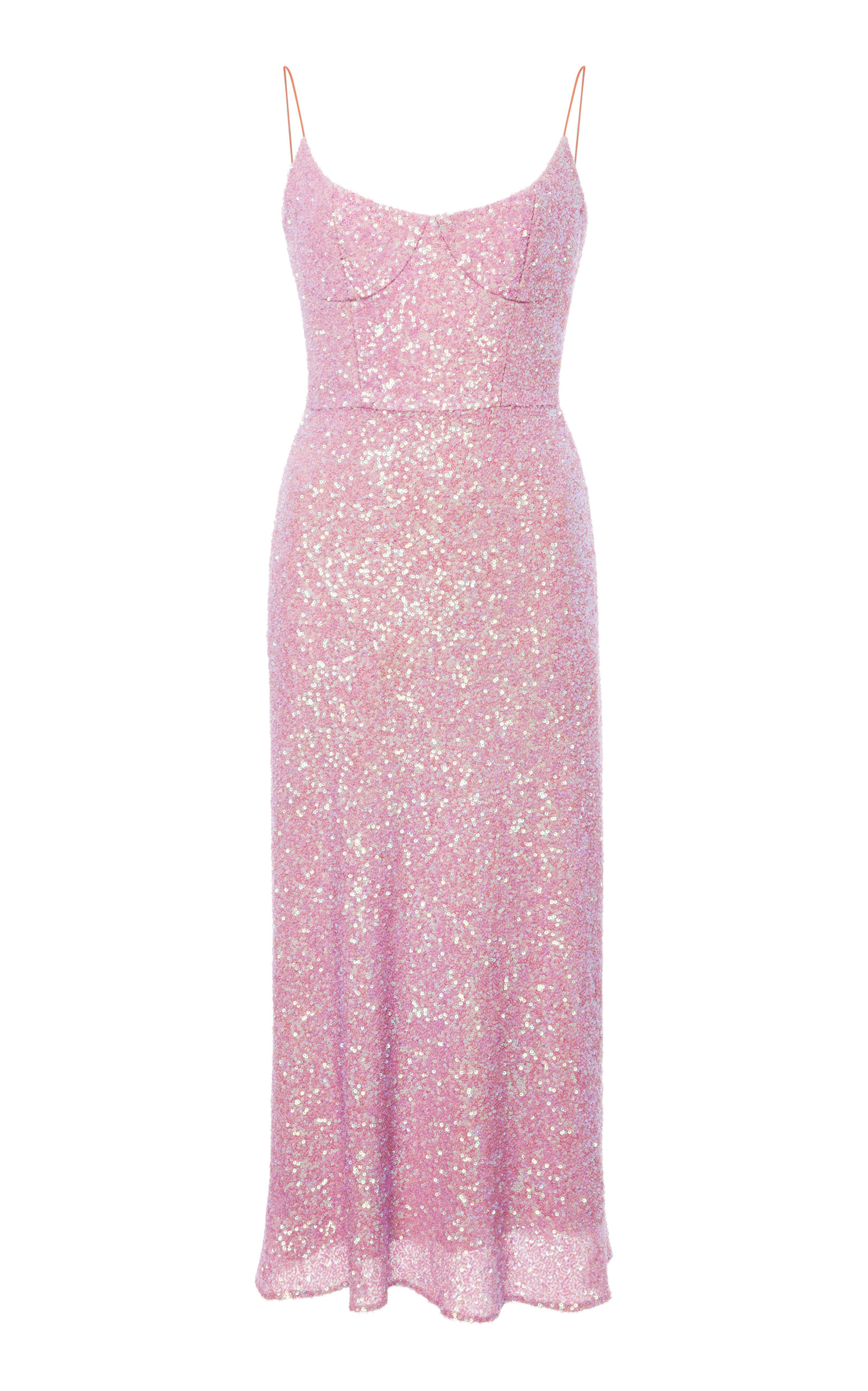 MARKARIAN HEART OF GLASS SEQUIN SILK MIDI DRESS