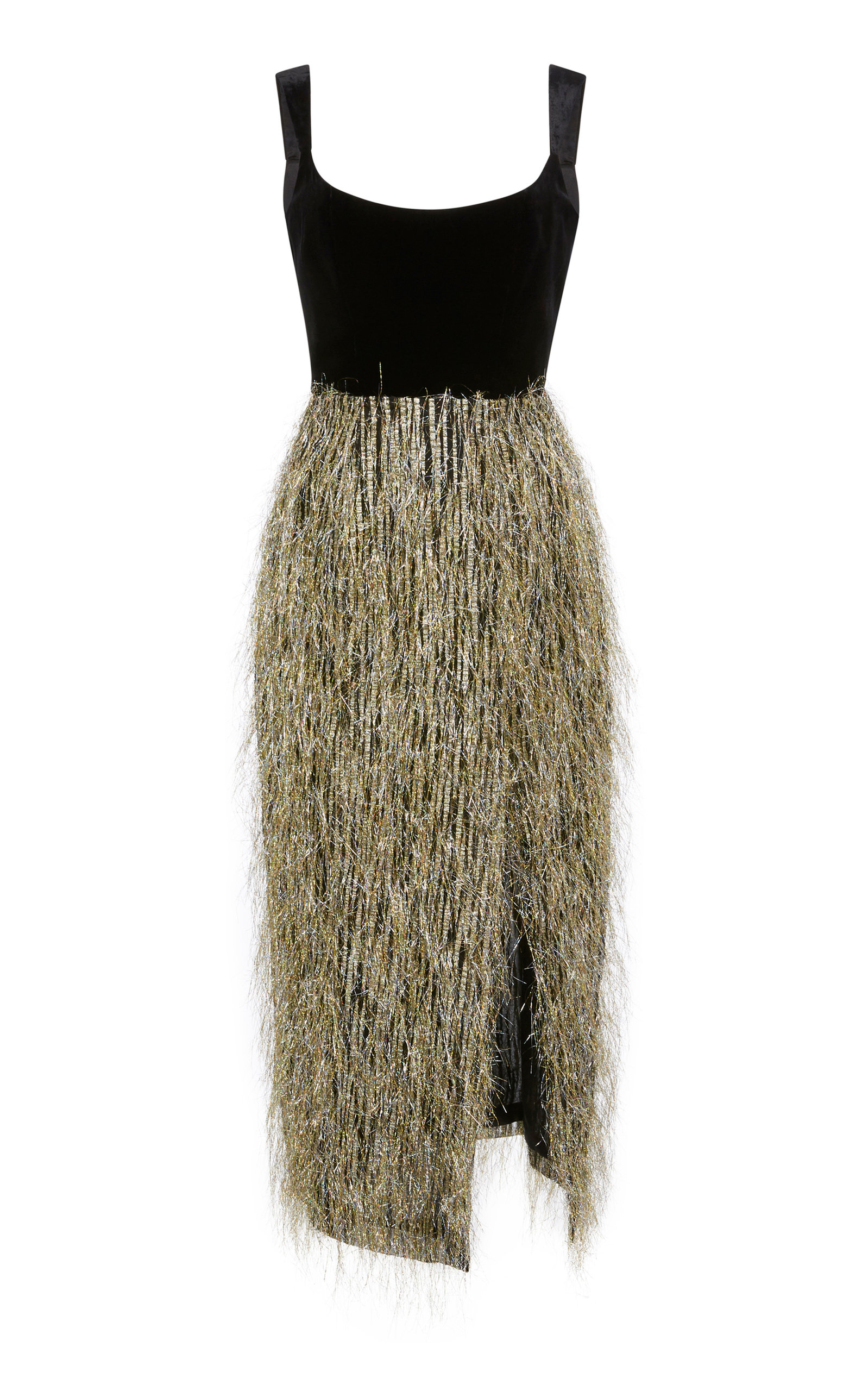 MARKARIAN DISCO TECH FRINGE VELVET MIDI DRESS