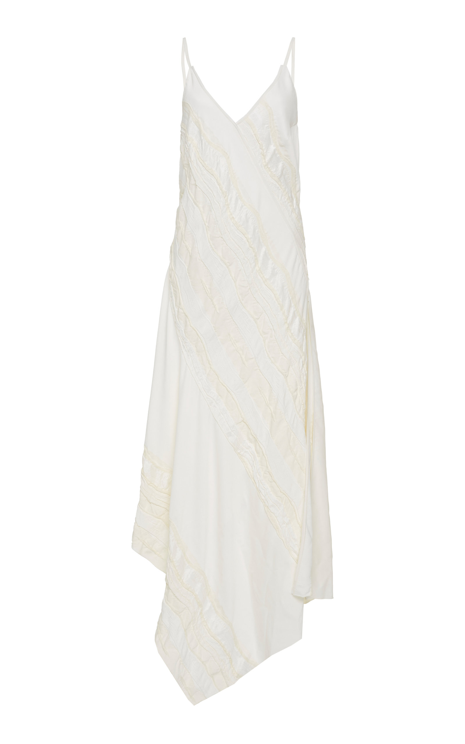 YEON M'O Exclusive Daphne Asymmetric Appliquéd Crepe Midi Dress in White