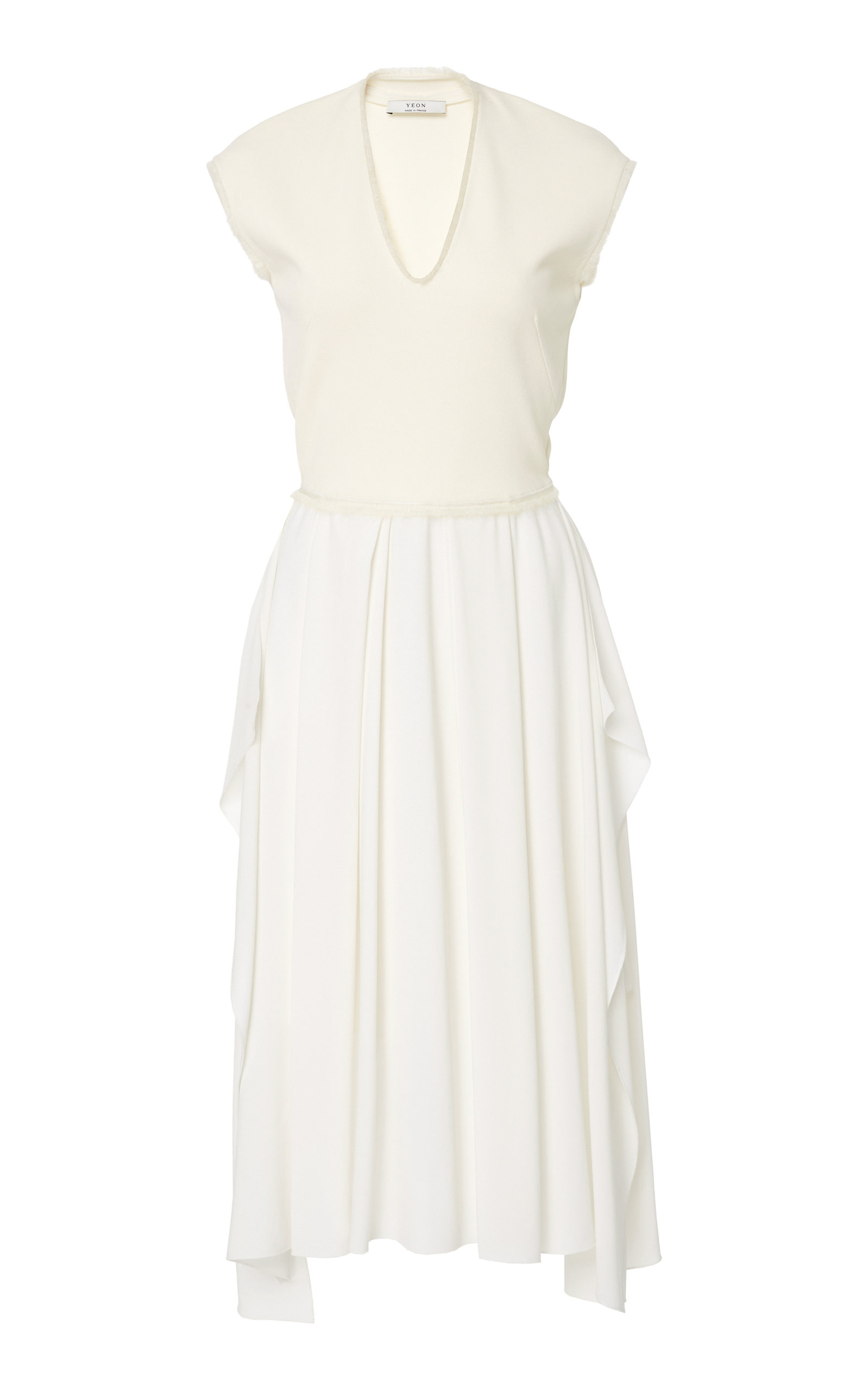 YEON M'O Exclusive Gaia Pleated Crepe Midi Dress in White