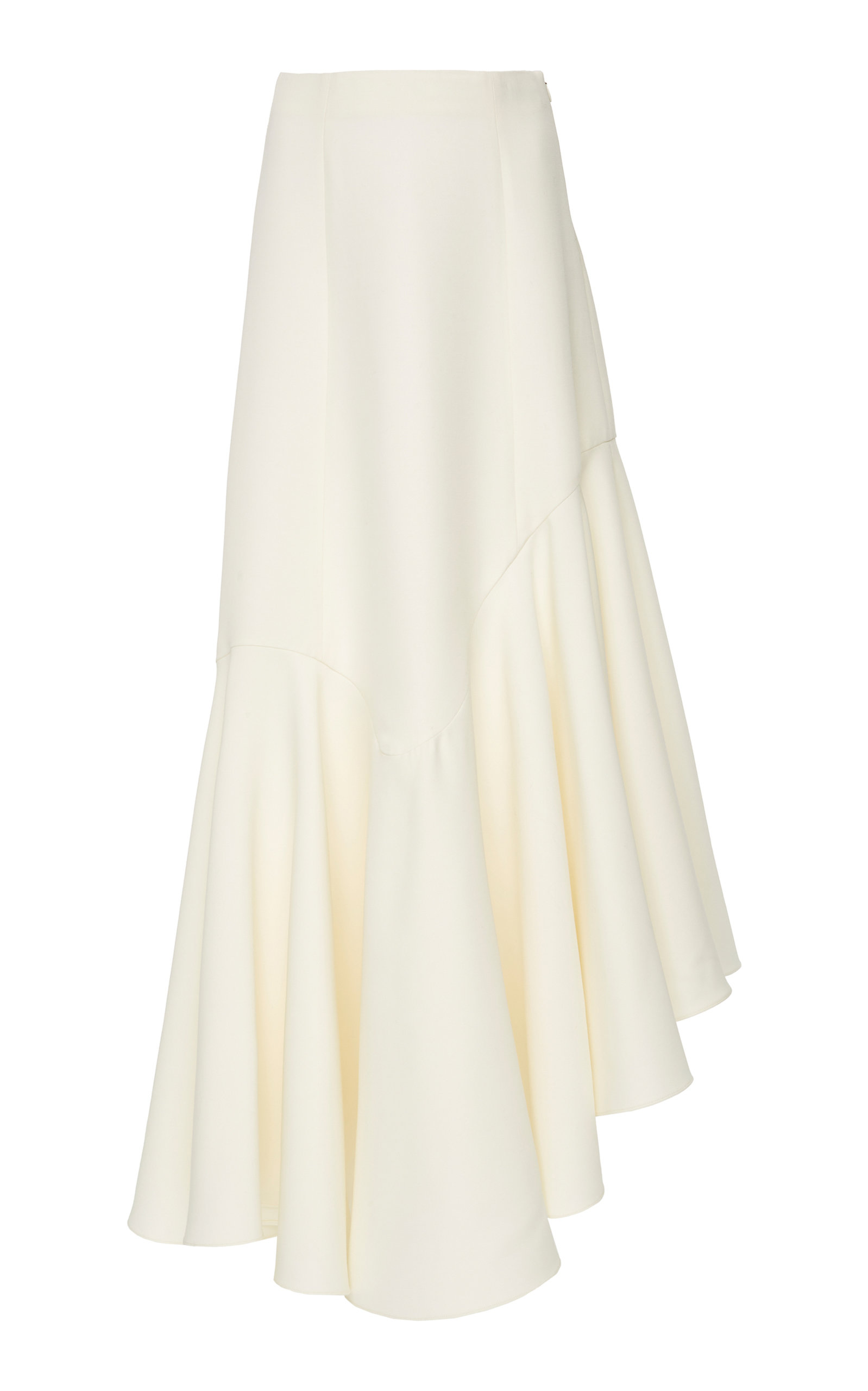 YEON M'O Exclusive Demetria Pleated Asymmetric Wool-Blend Skirt in White