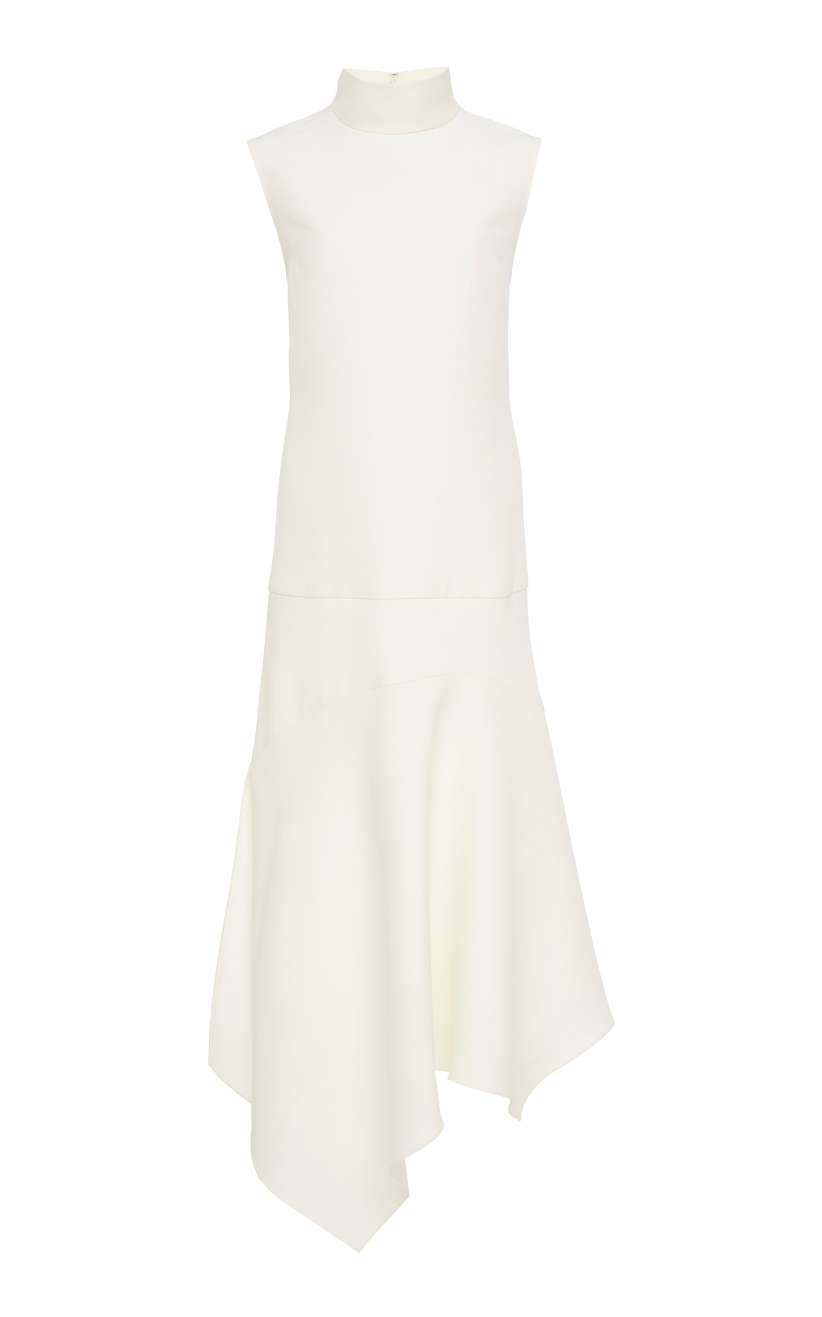 YEON M'O Exclusive Nyx Asymmetric Turtleneck Wool-Blend Midi Dress in White