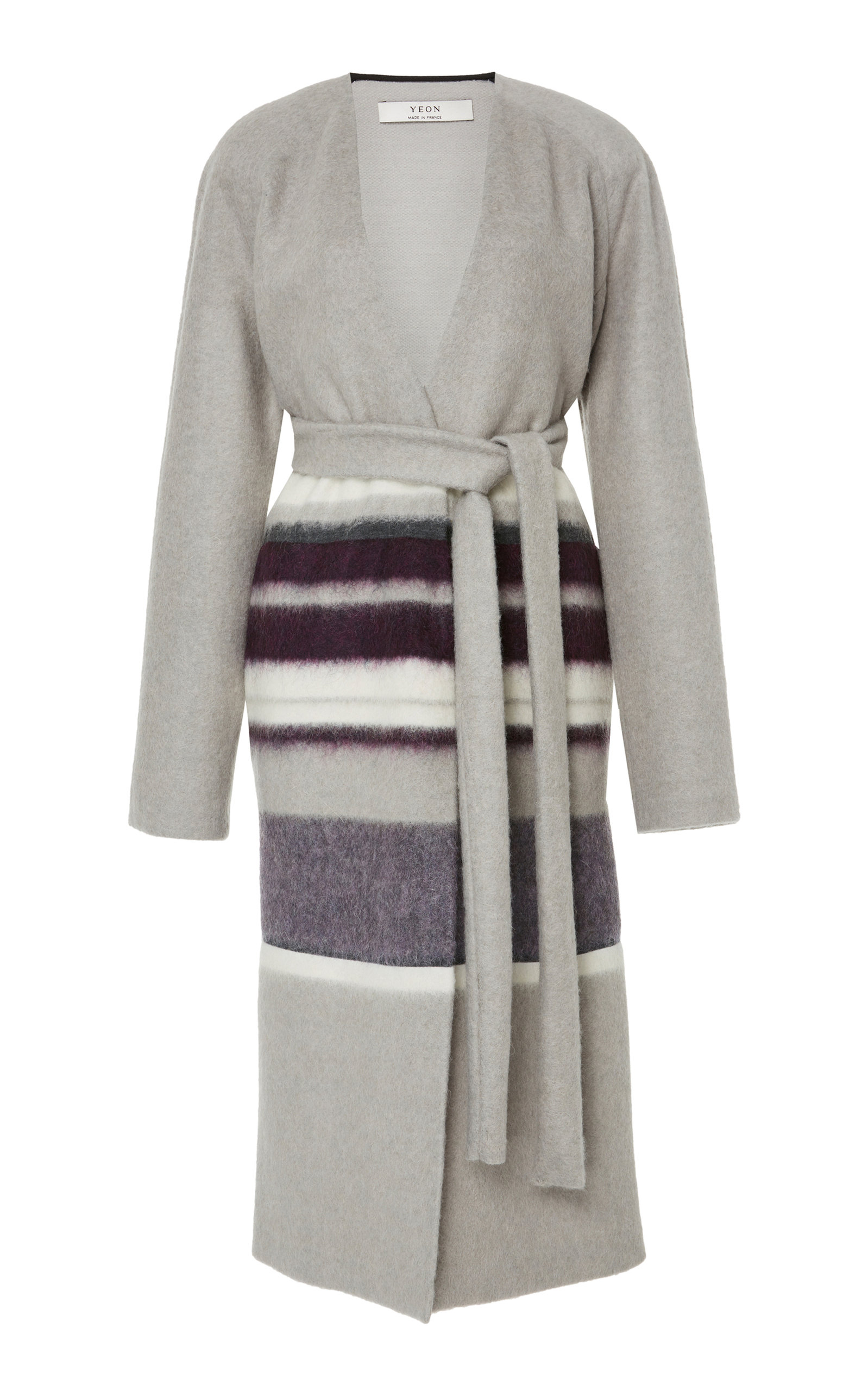 YEON M'O Exclusive Clio Striped Wool-Blend Coat in Grey