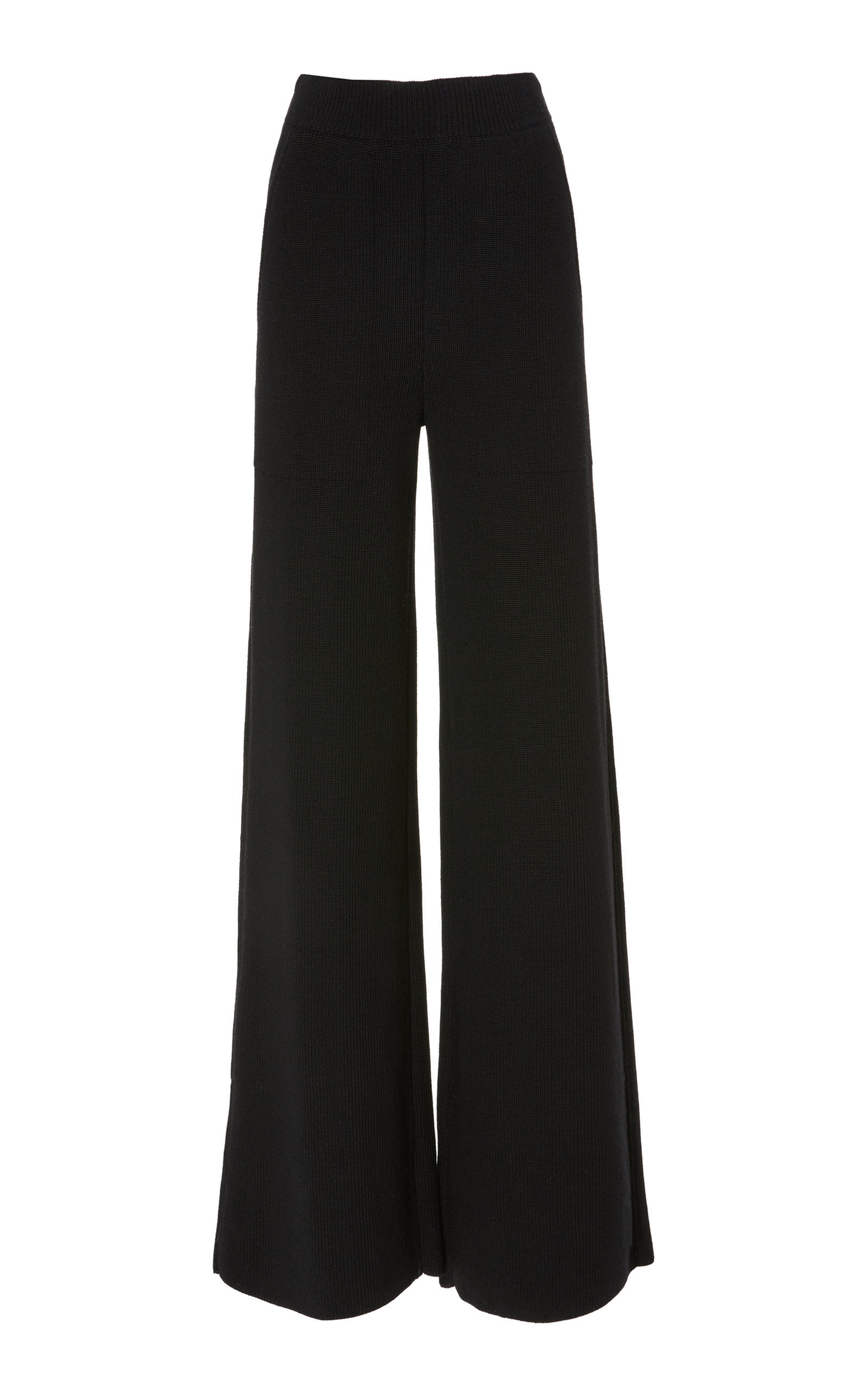 YEON M'O Exclusive Penelope Wide-Leg Wool Trousers in Black