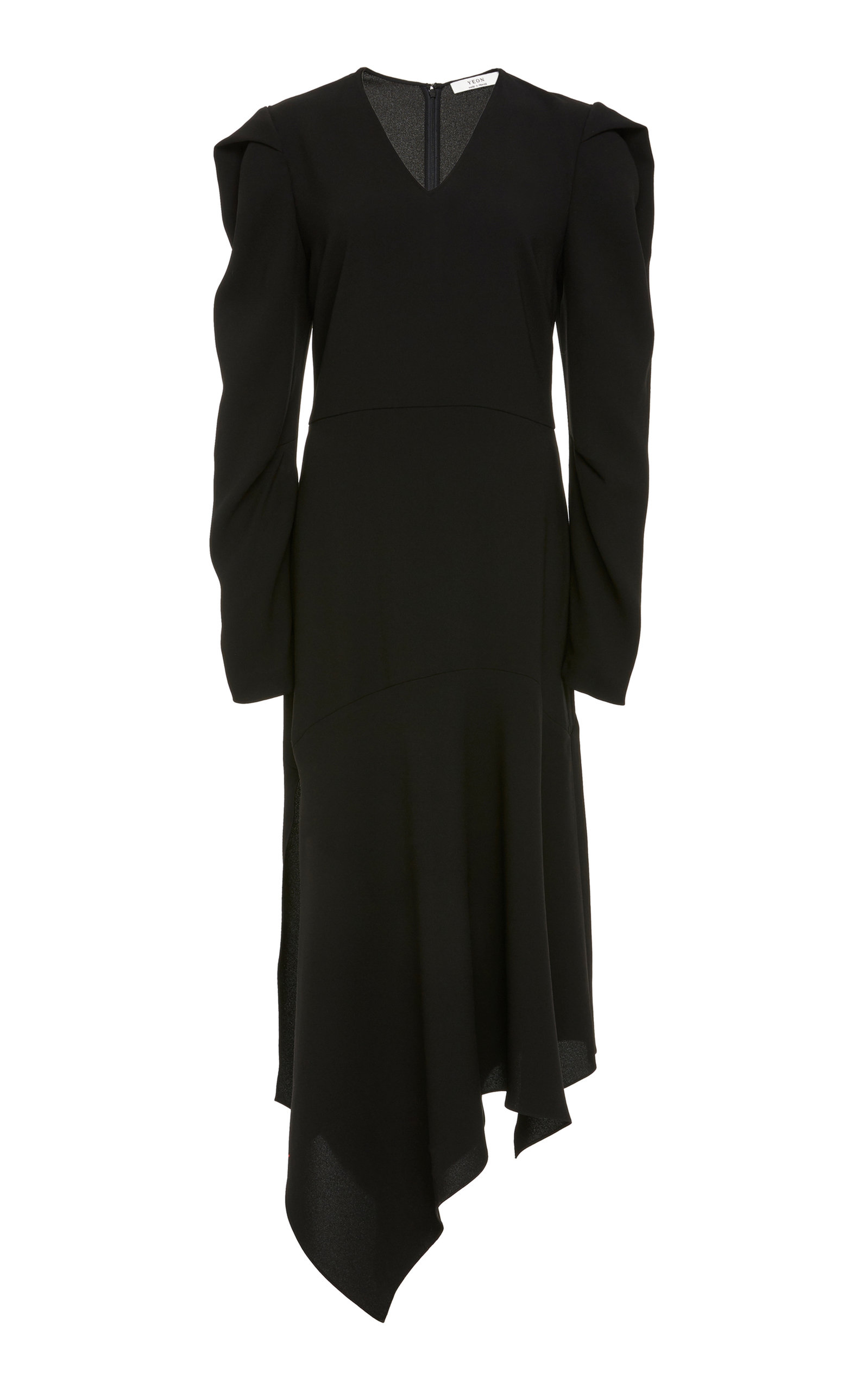 YEON M'O Exclusive Eudora Asymmetric Crepe Midi Dress in Black