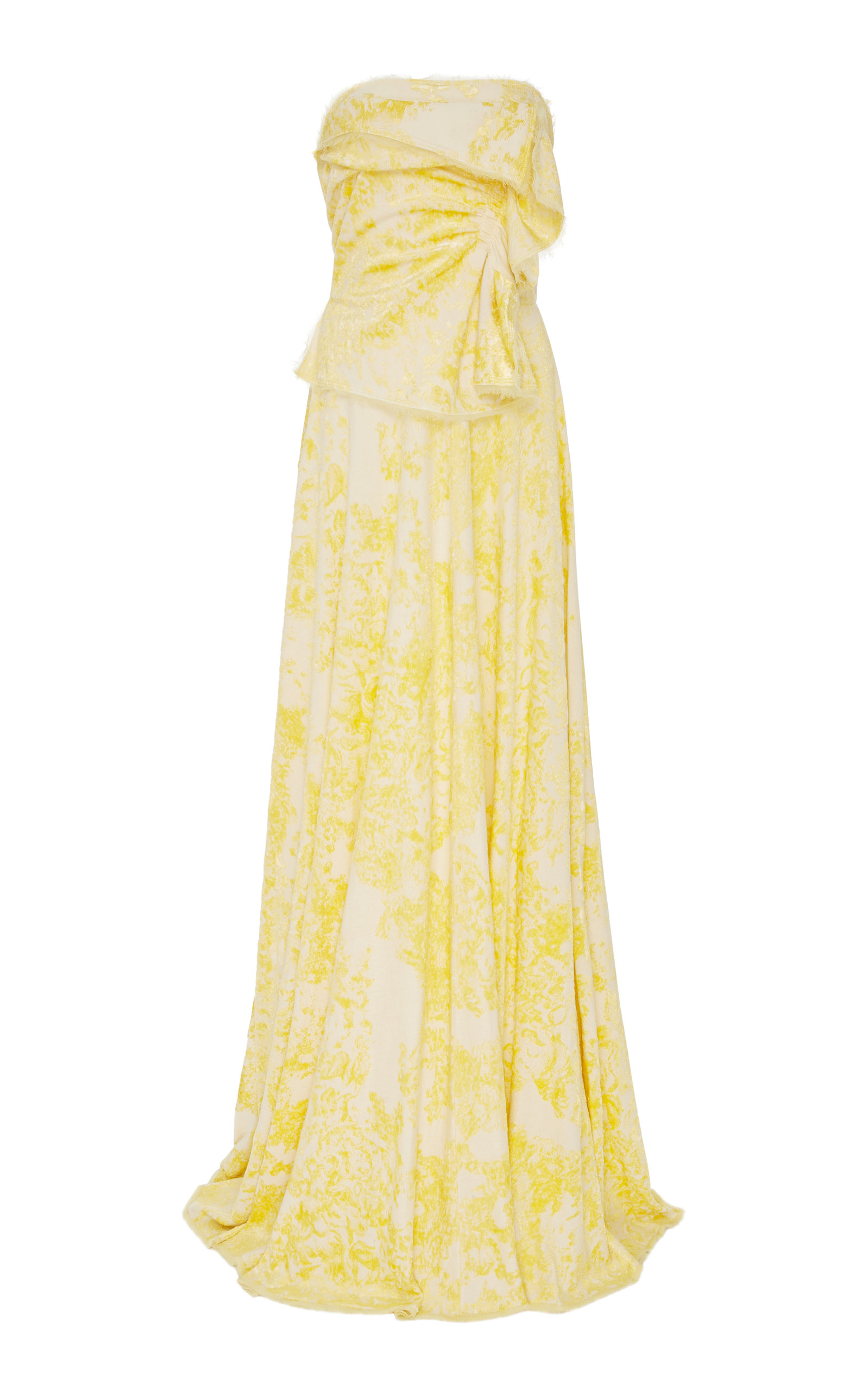 YEON M'O Exclusive Cliora Floral Jacquard Gown in Yellow