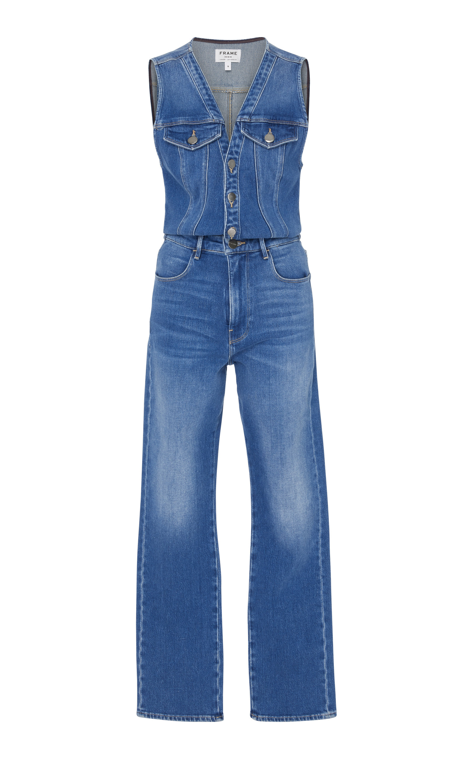 Le Slender Sleeveless Straight-Leg Denim Jumpsuit, Medium Wash