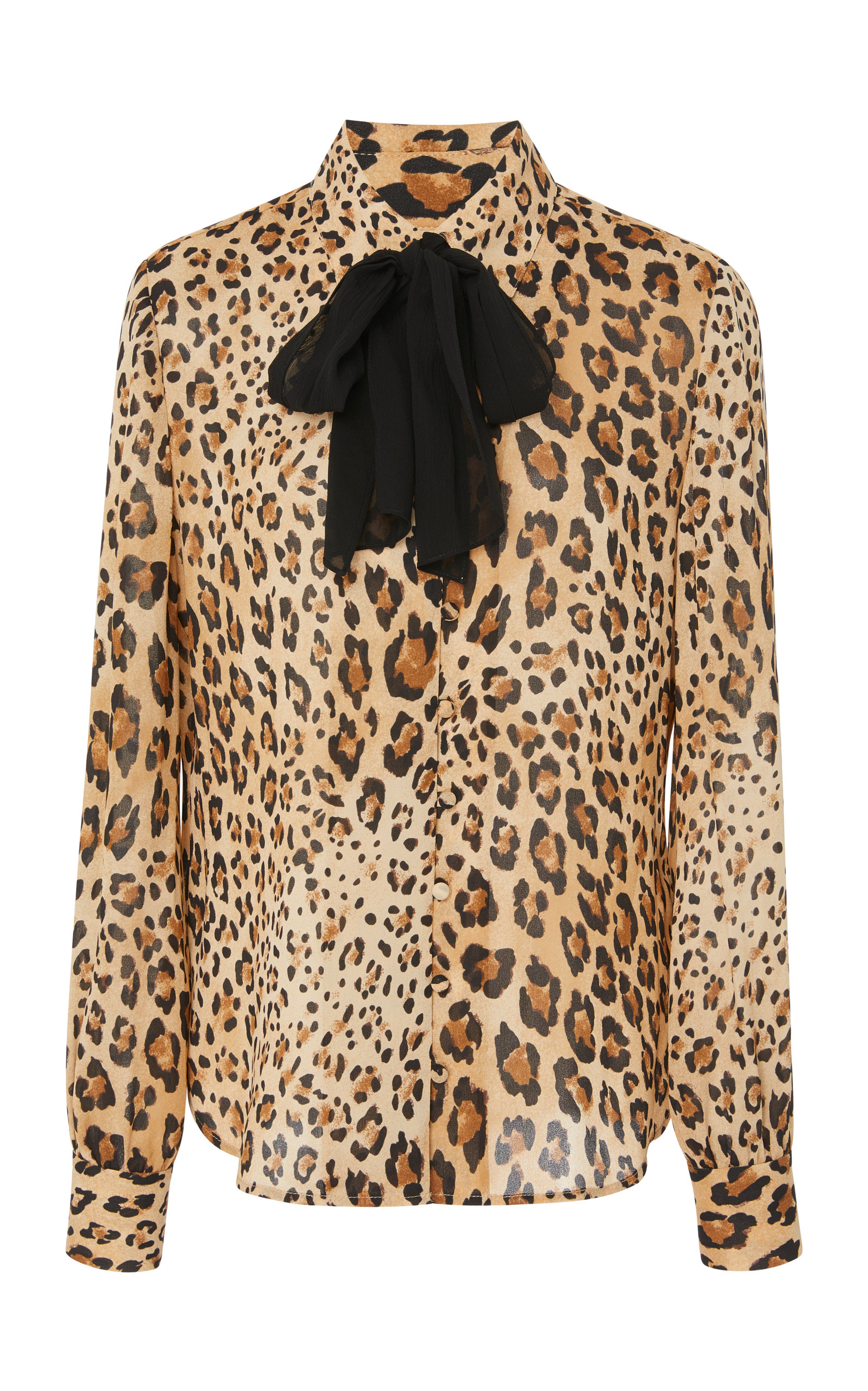 Cheetah-Print Button-Front Silk Top W/ Long Cuffs in Brown