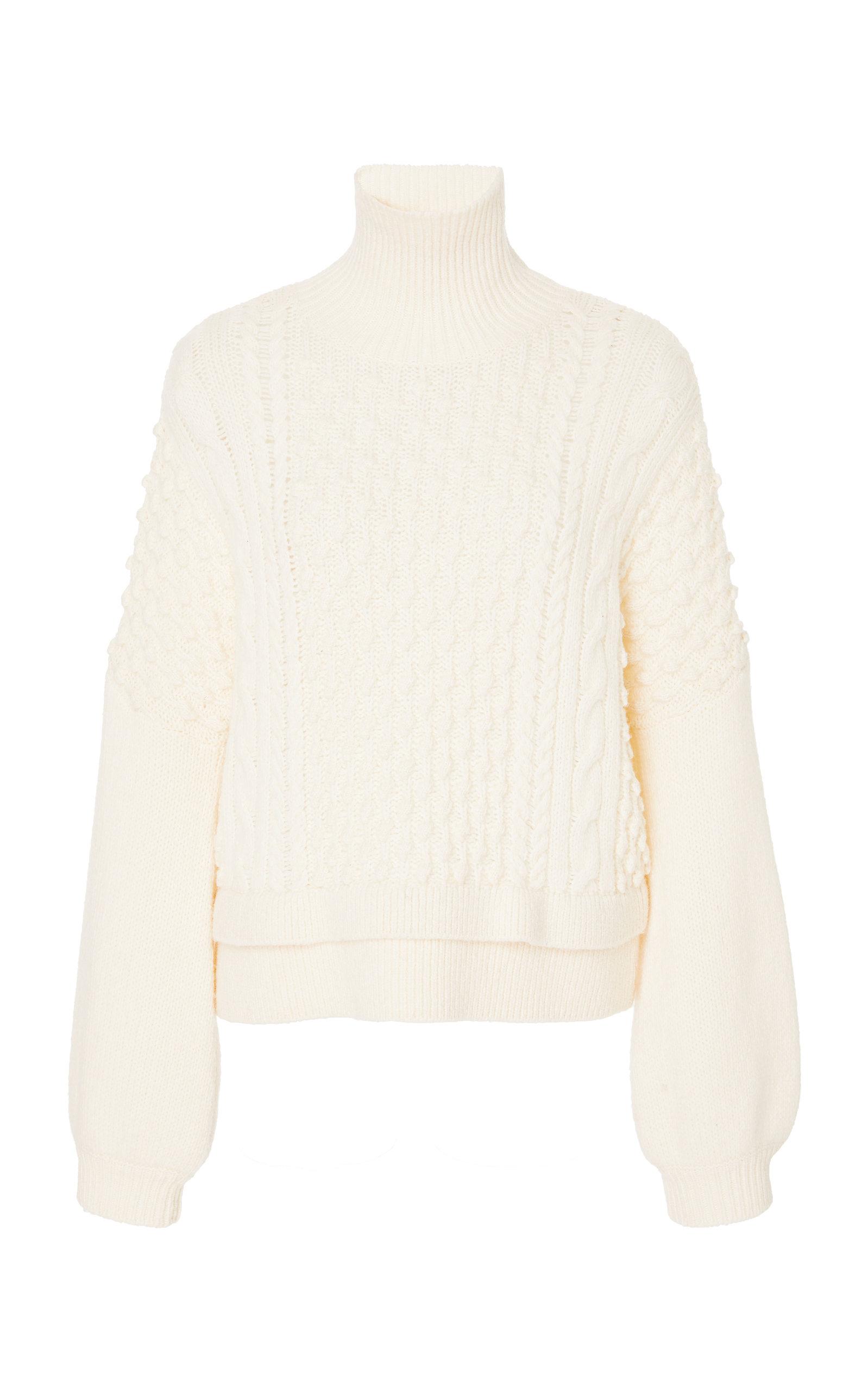 Nubby Turtleneck Wool-Blend Knit Sweater, White