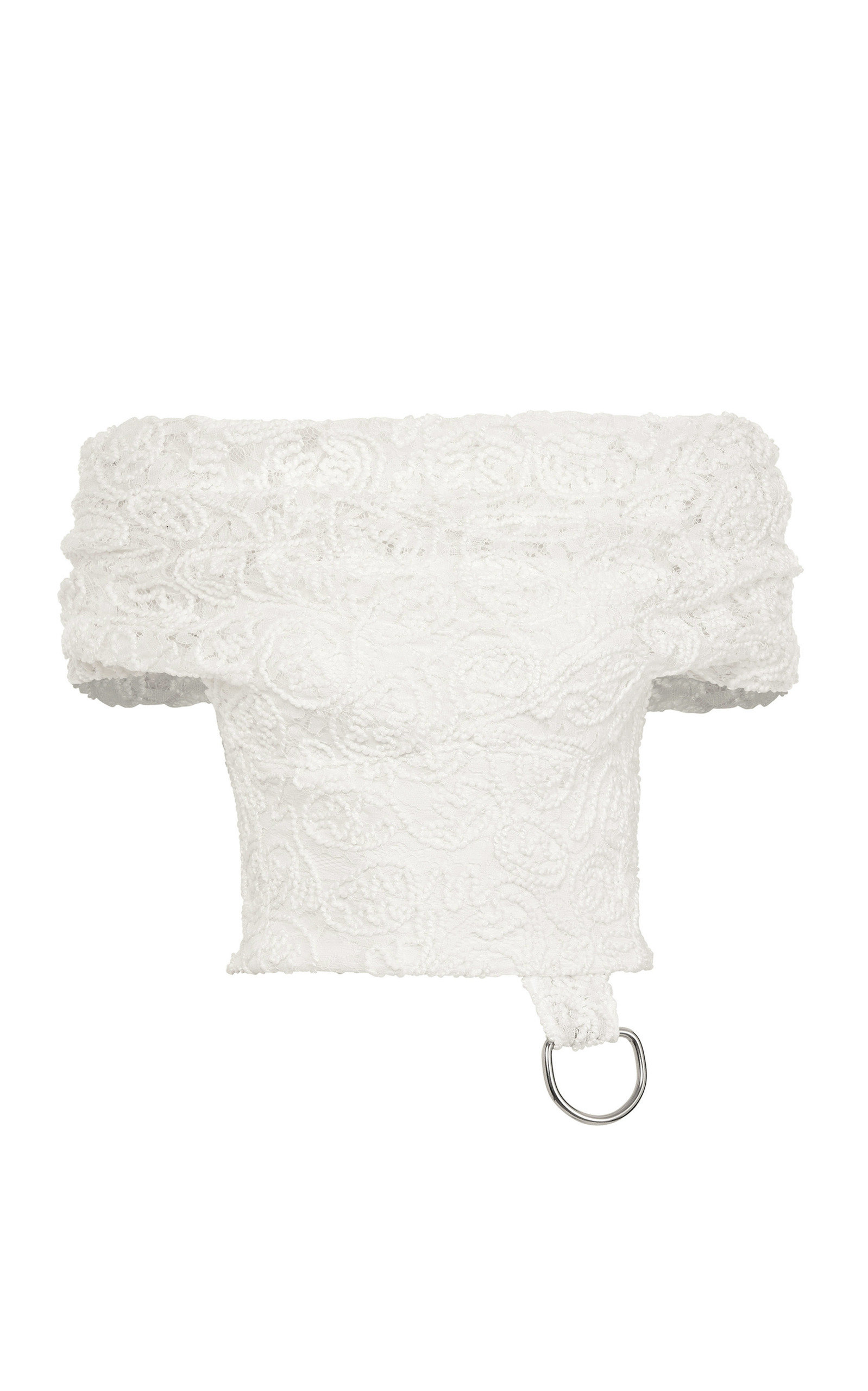 MATICEVSKI Embrace Embroidered Lace Off-The-Shoulder Crop Top in White