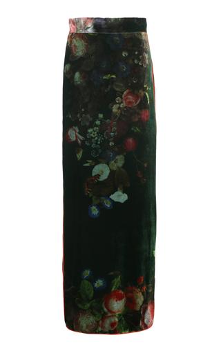 FOR RESTLESS SLEEPERS | For Restless Sleepers Litai Floral Velvet Maxi Skirt | Goxip