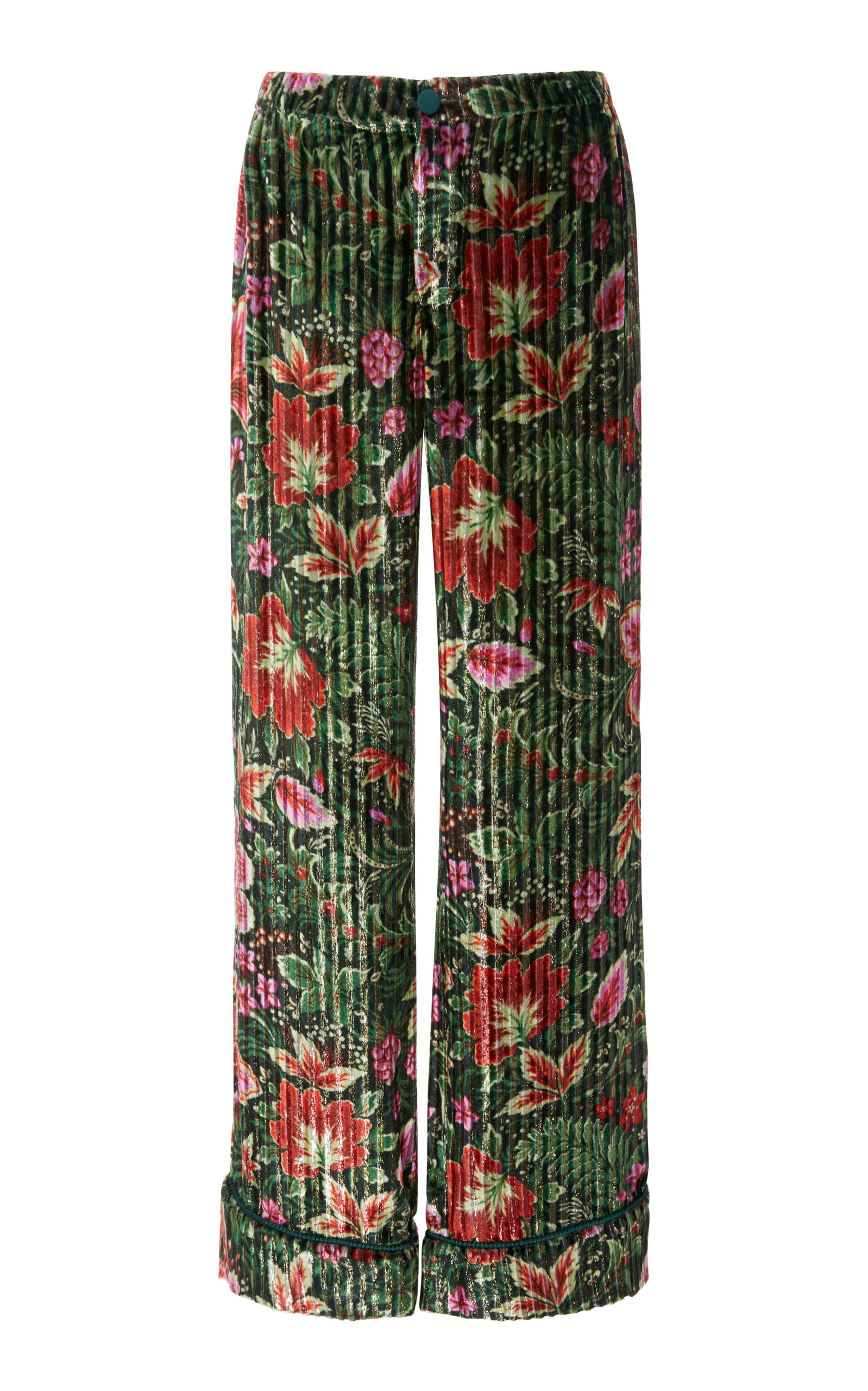 F.R.S FOR RESTLESS SLEEPERS Etere Floral Silk Straight-Leg Pant in Green