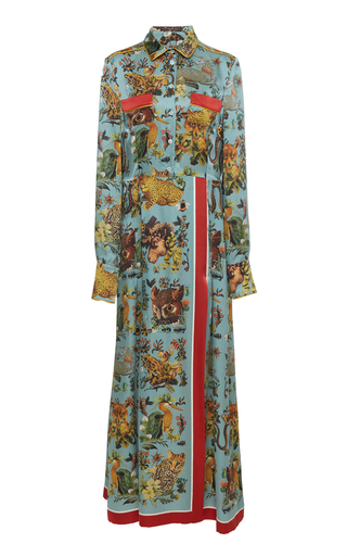 FOR RESTLESS SLEEPERS | For Restless Sleepers Fedra Printed Silk Maxi Dress | Goxip