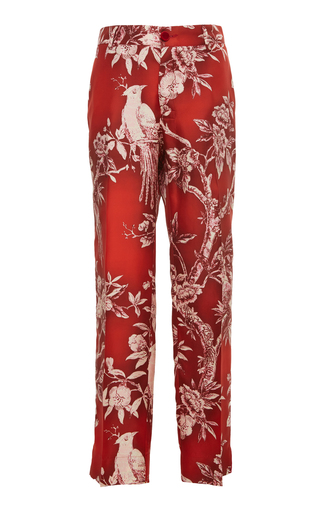 FOR RESTLESS SLEEPERS | For Restless Sleepers Tartaro Printed Silk Straight-Leg Pant | Goxip