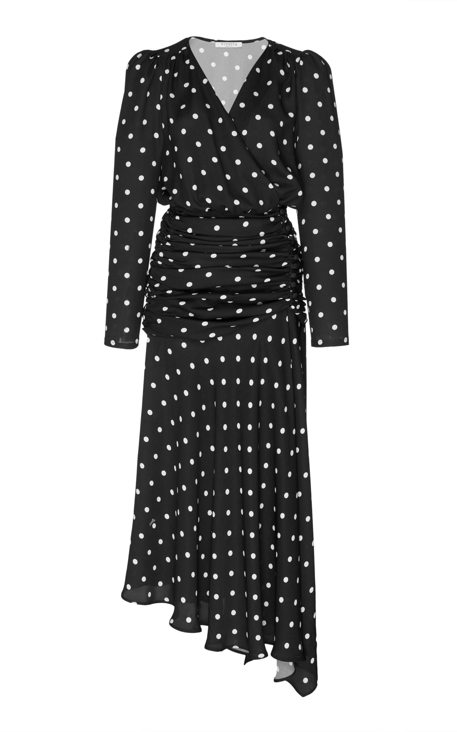 Della Francesca Long Dress in Black/White